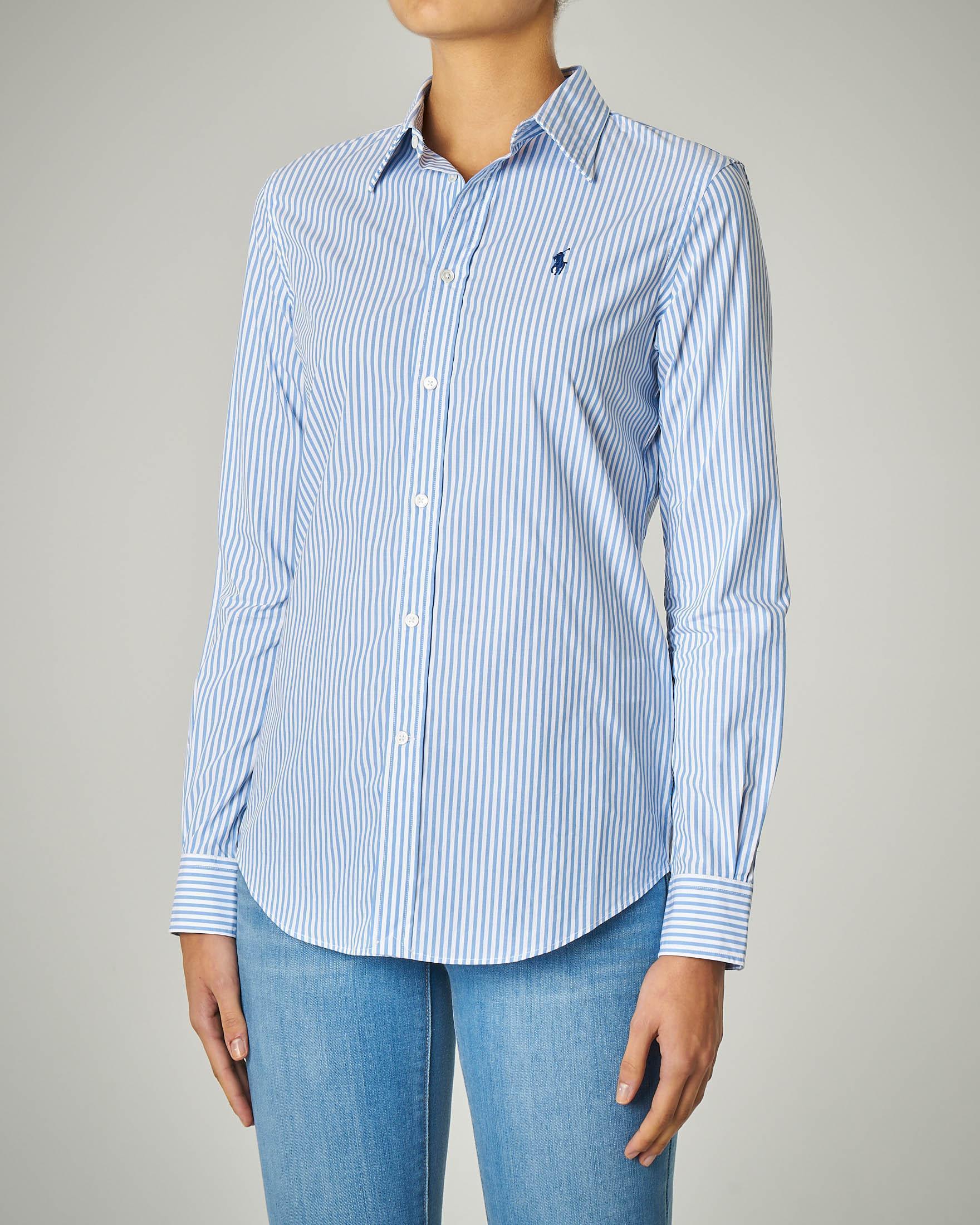 Camicia in cotone stretch a righe azzurre con logo