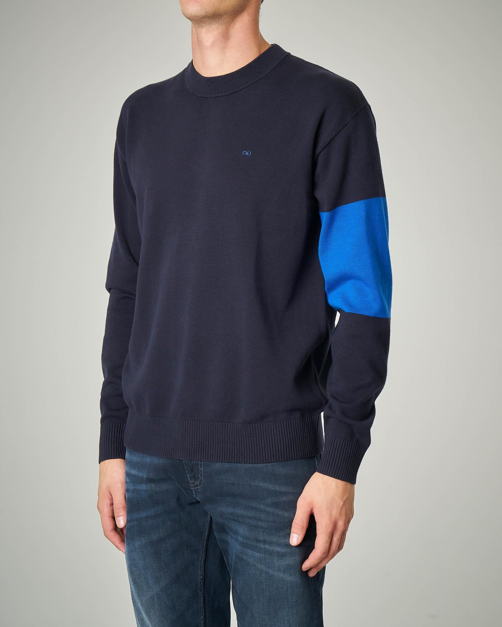 Maglia blu girocollo in cotone con fascia azzurra