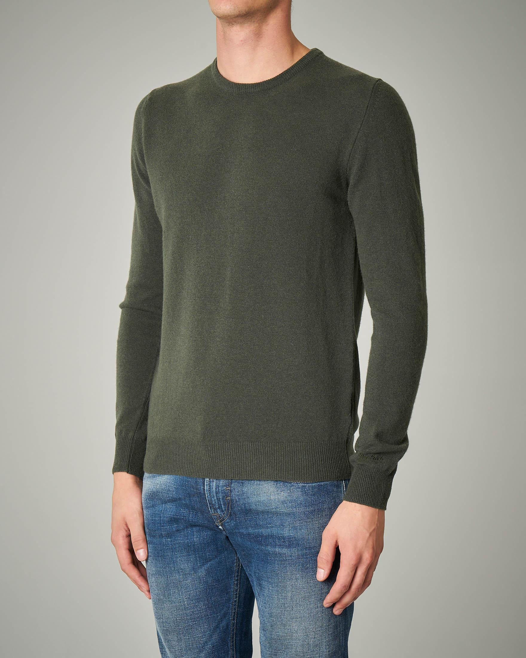 Maglia verde militare girocollo in lana