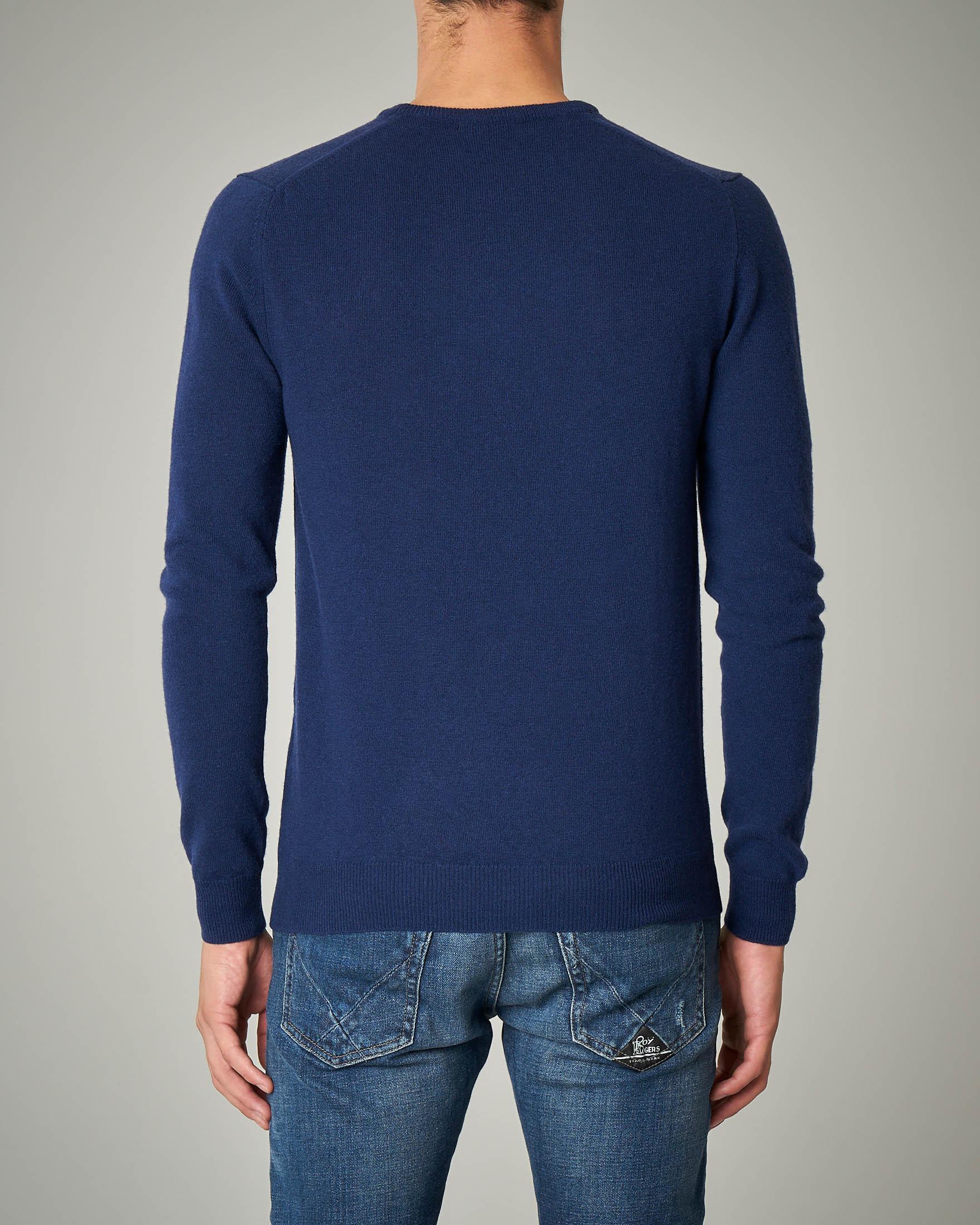 Maglia blu girocollo in lana