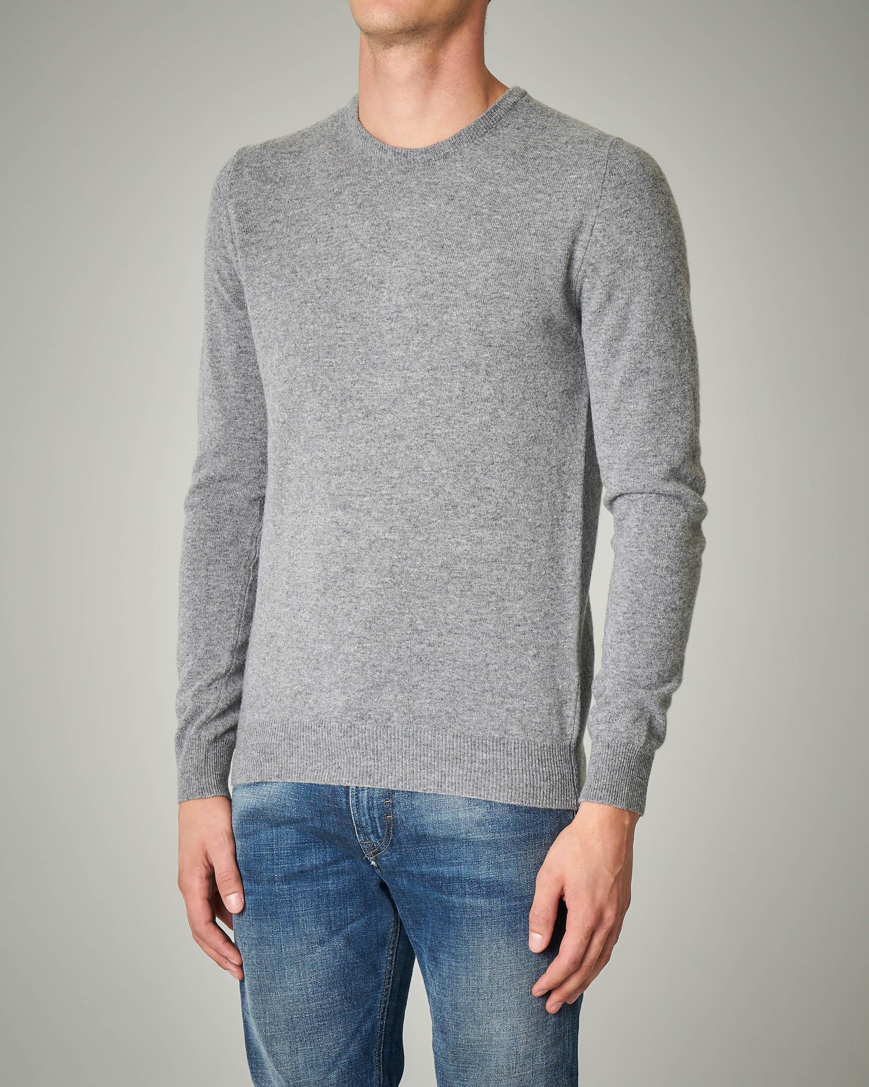 Maglia grigio melange girocollo in lana