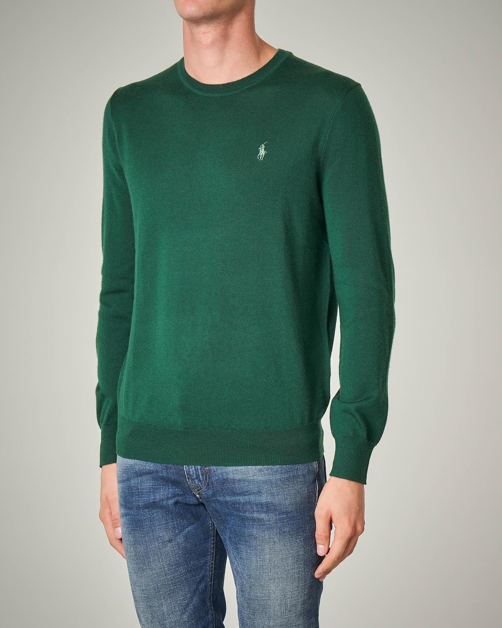 Maglia verde girocollo in lana merino