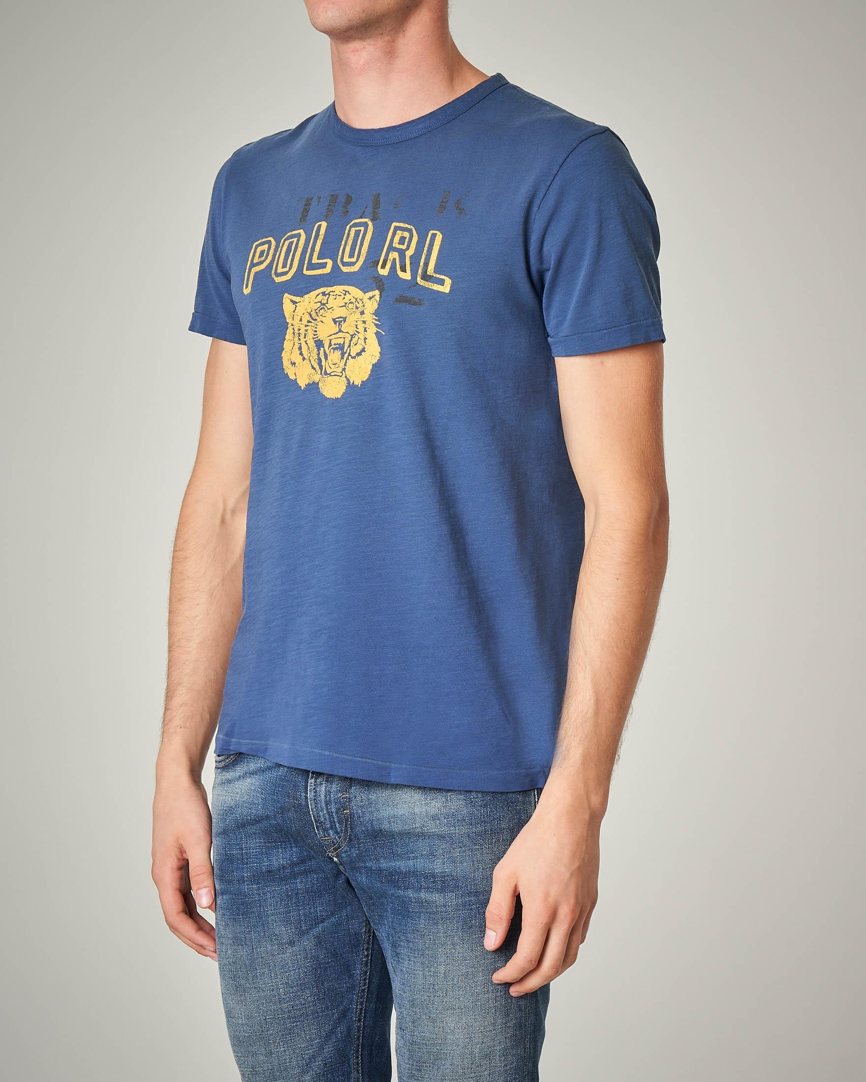 T-shirt blu in cotone con stampa logo e tigre
