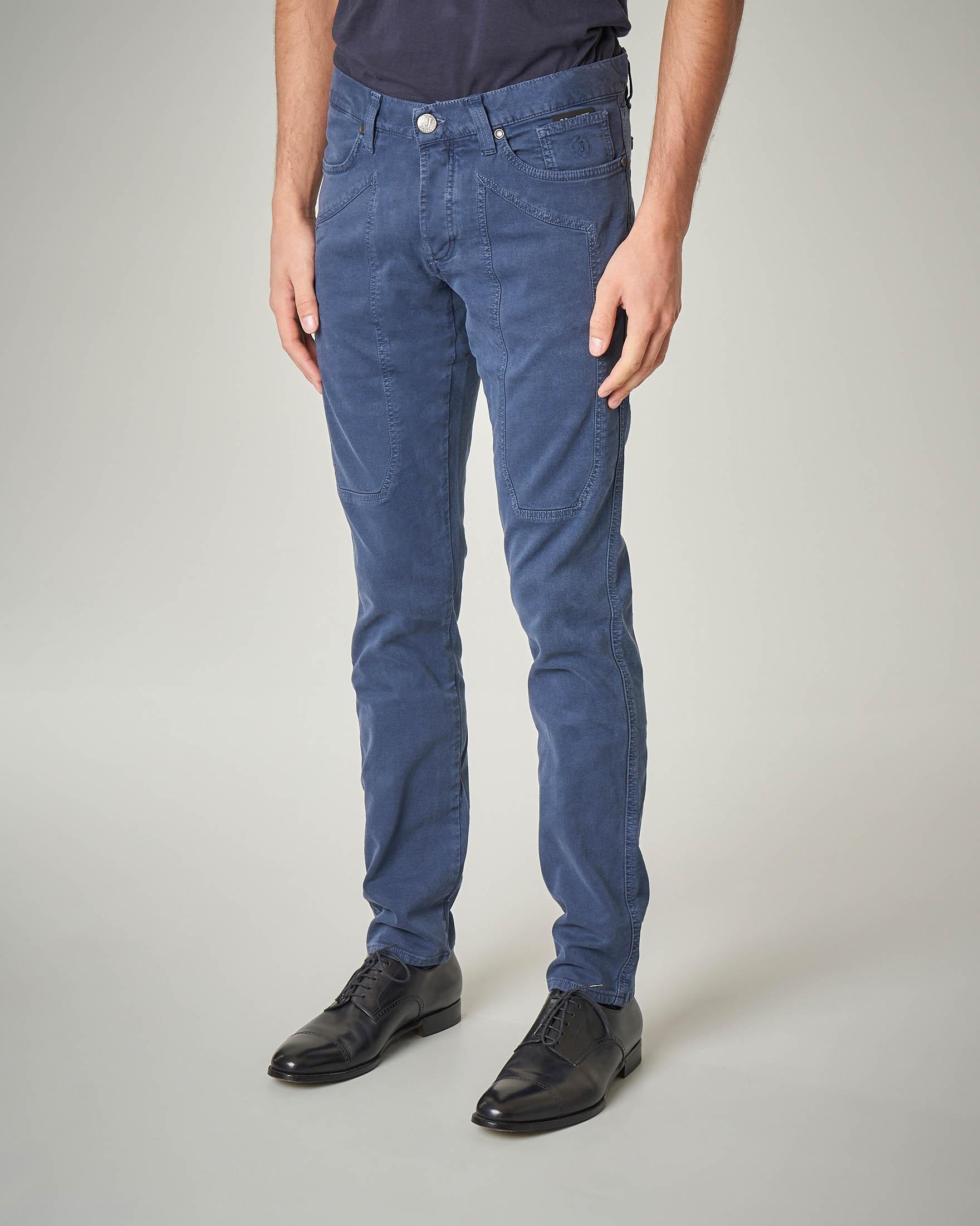Pantalone cinque tasche avio in cotone con toppa