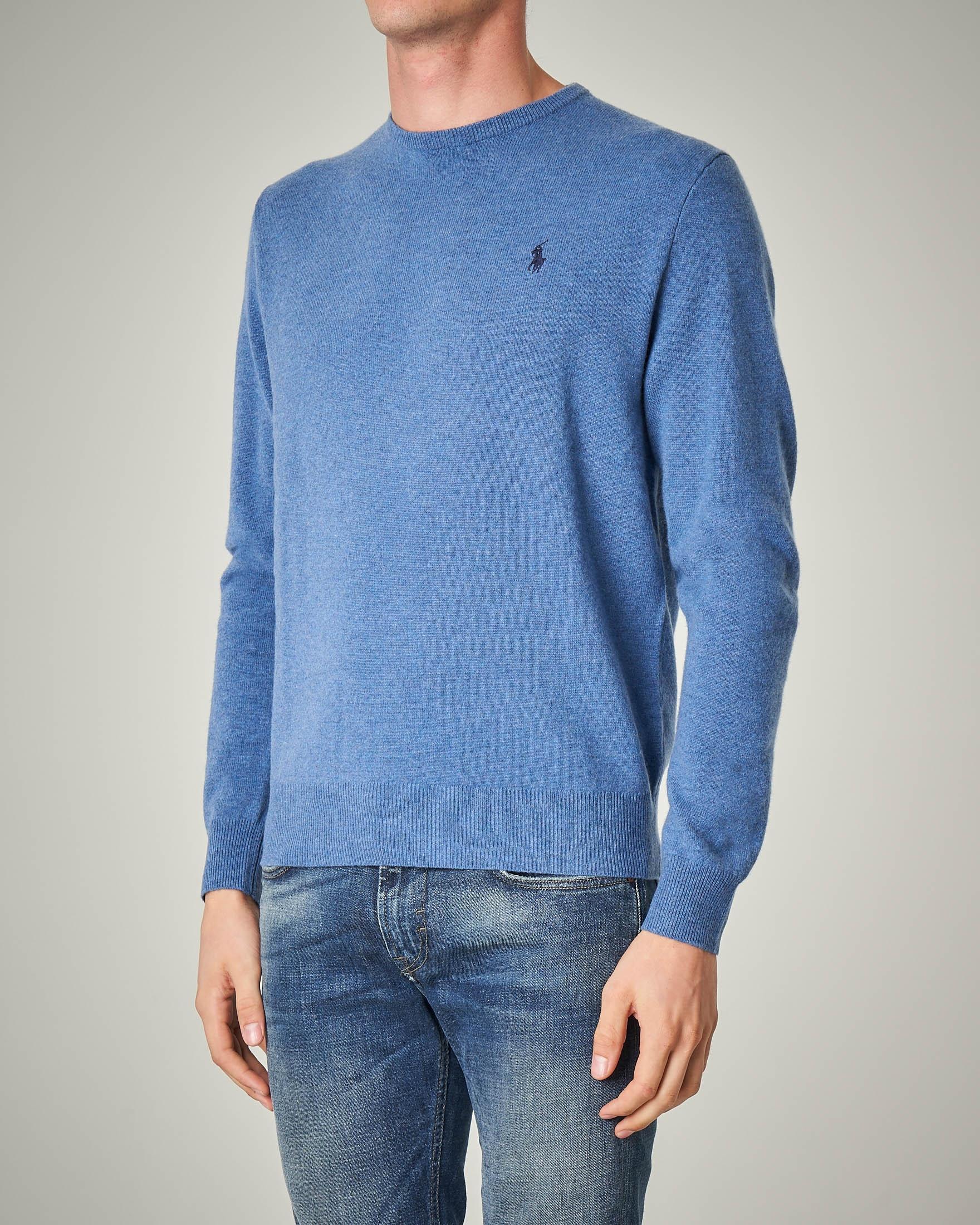 Maglia azzurro melange girocollo in lana merino