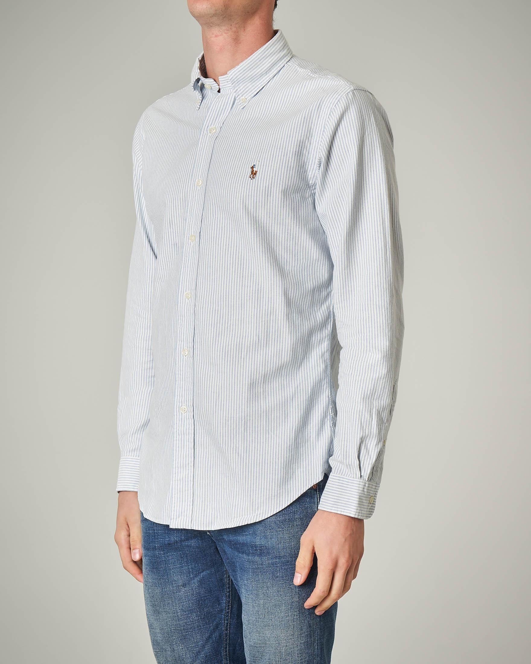 Camicia a bastoncino bianco-grigio button down