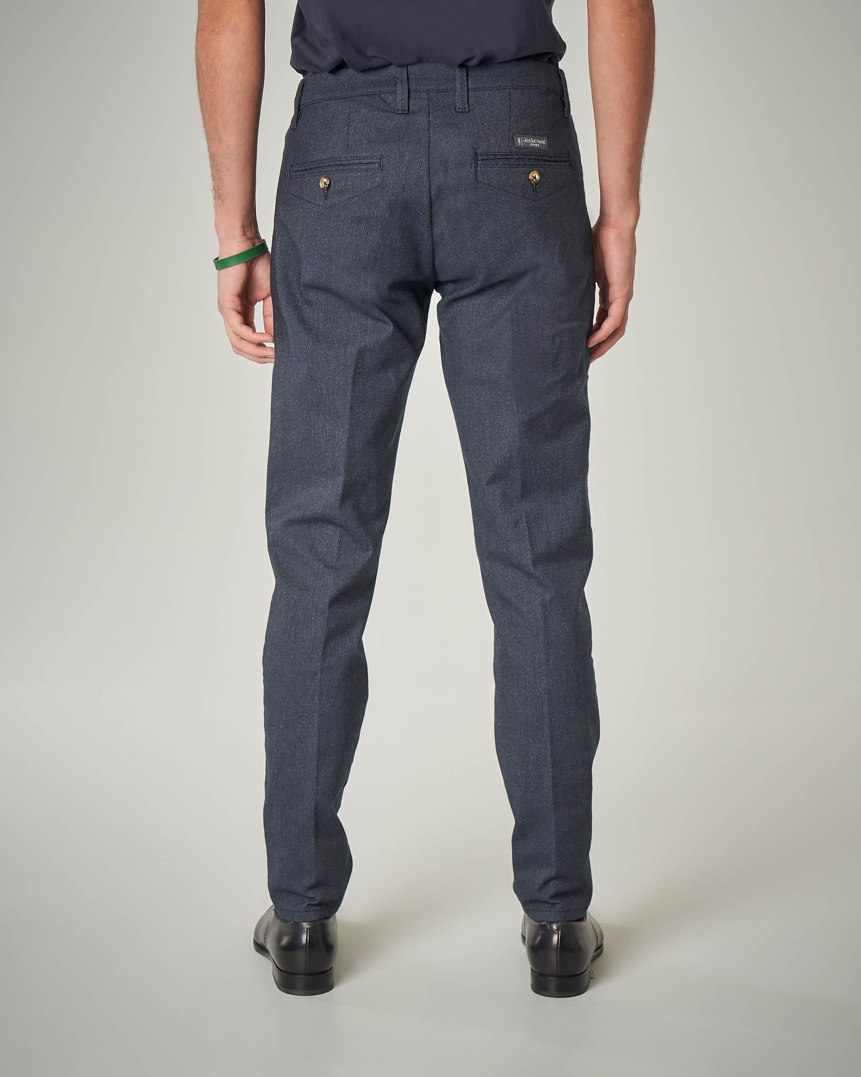 Pantalone chino blu in flanella di cotone