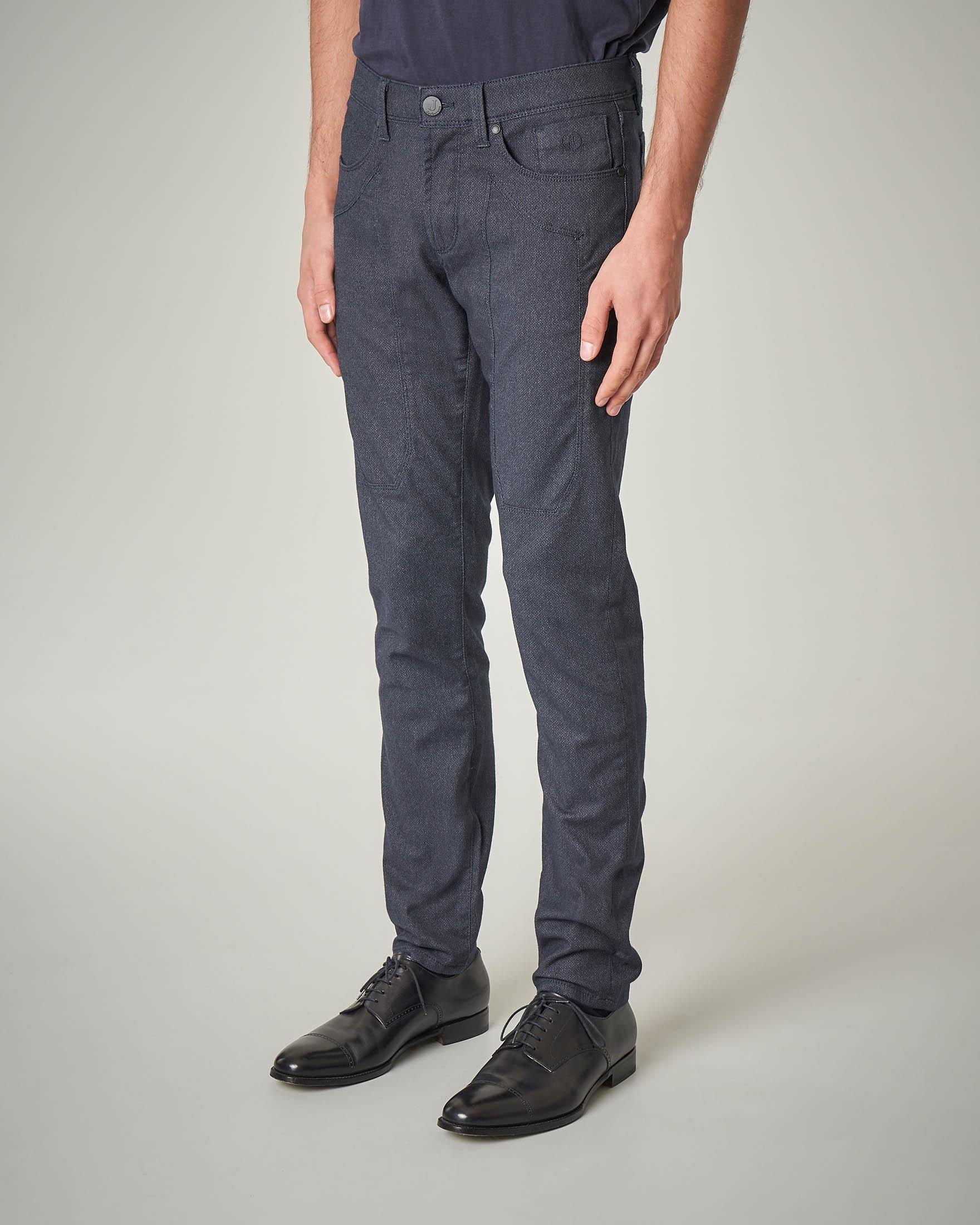 Pantalone cinque tasche blu in flanella di cotone con toppa