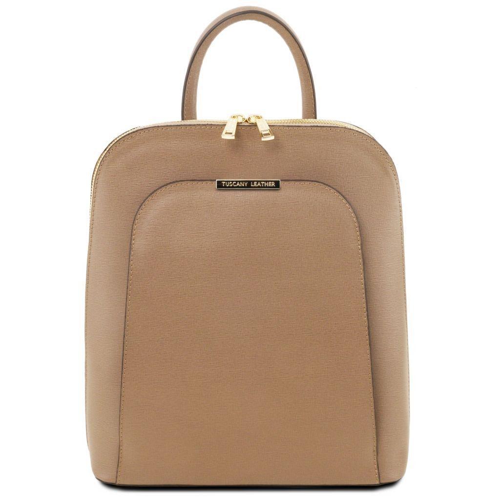 Tuscany Leather TL141631 TL Bag - Saffiano leather backpack for women  Caramel - LaBorsetteria.com 86c46bcb8b43b