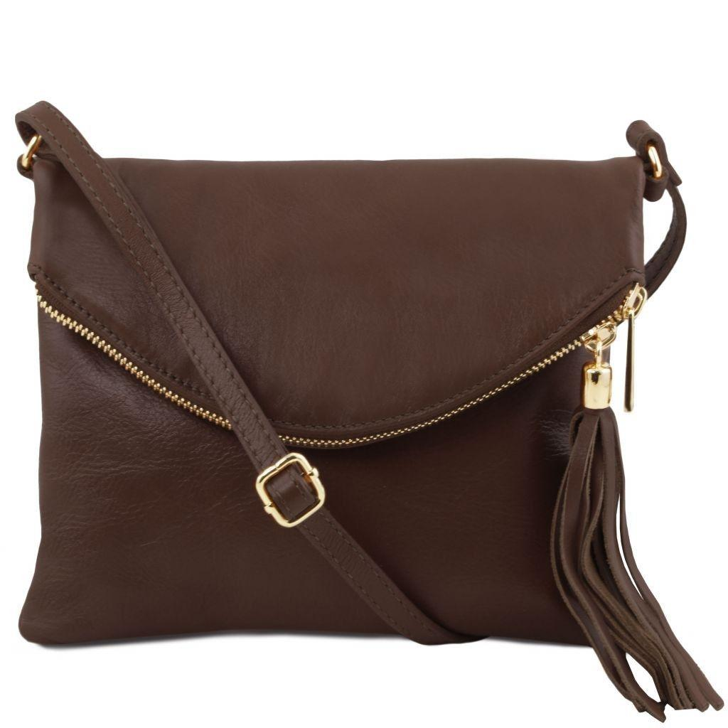 fd1d74bb72fa Tuscany Leather TL141153 TL Young bag - Shoulder bag with tassel detail  Dark Brown - LaBorsetteria.com
