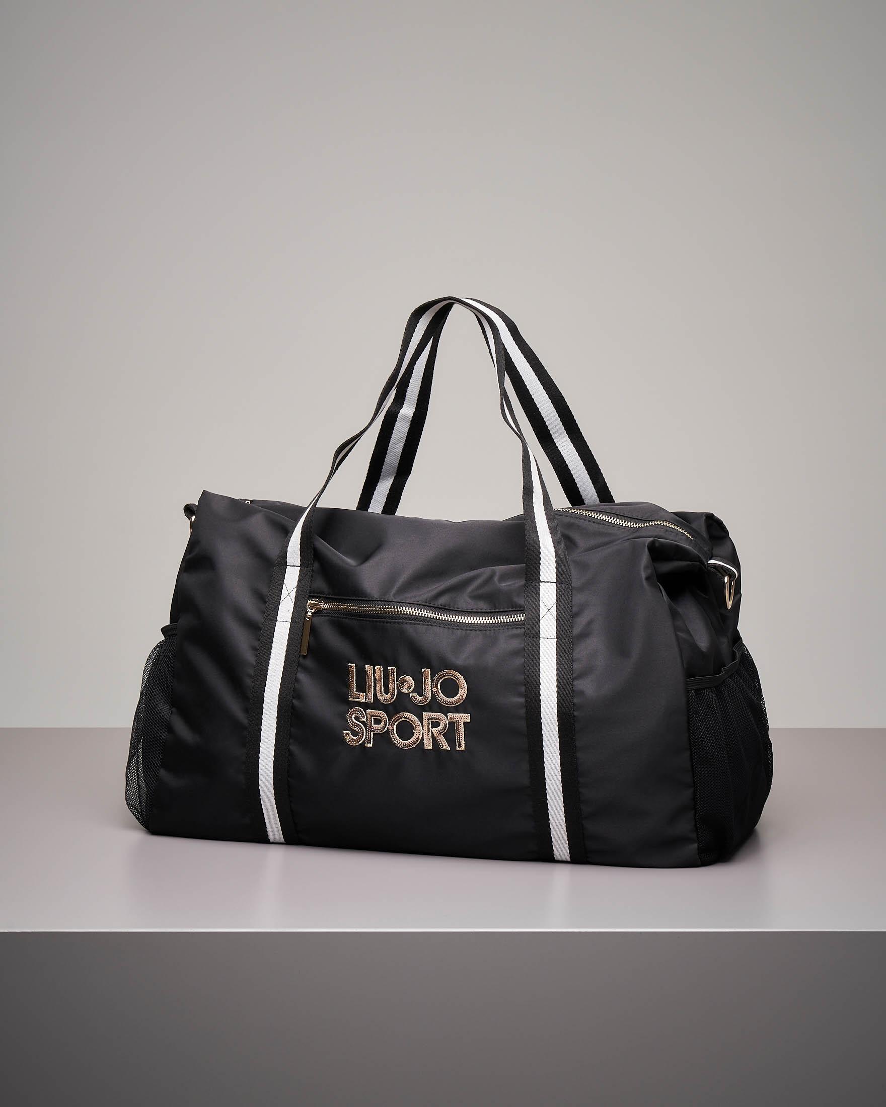 Maxi borsone nero in nylon con logo
