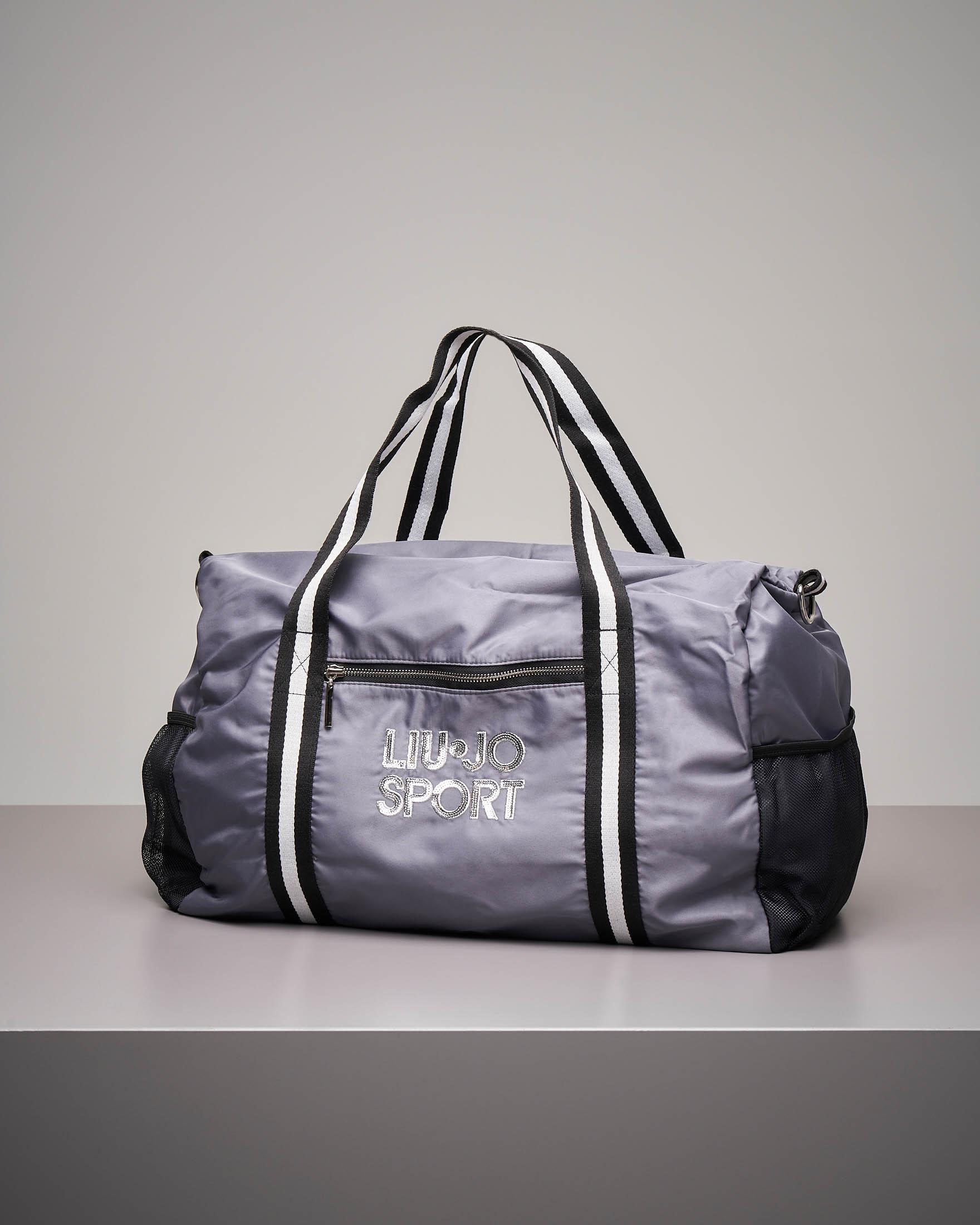 Maxi borsone grigio in nylon con logo