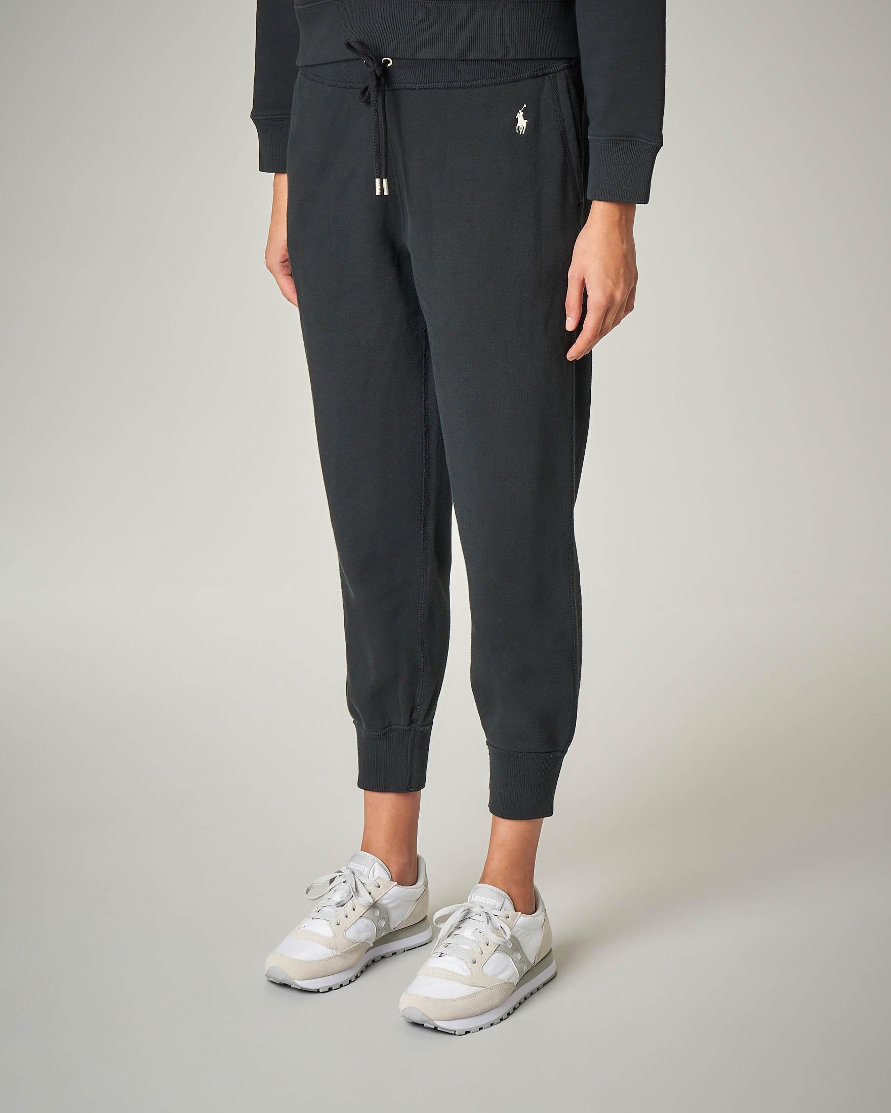 Pantaloni tuta neri in felpa