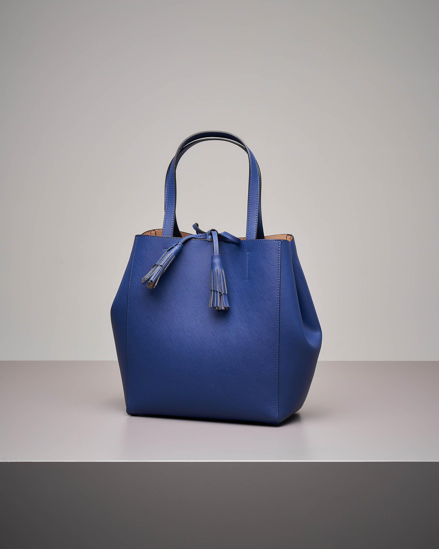 Shopping bag blu cina in similpelle