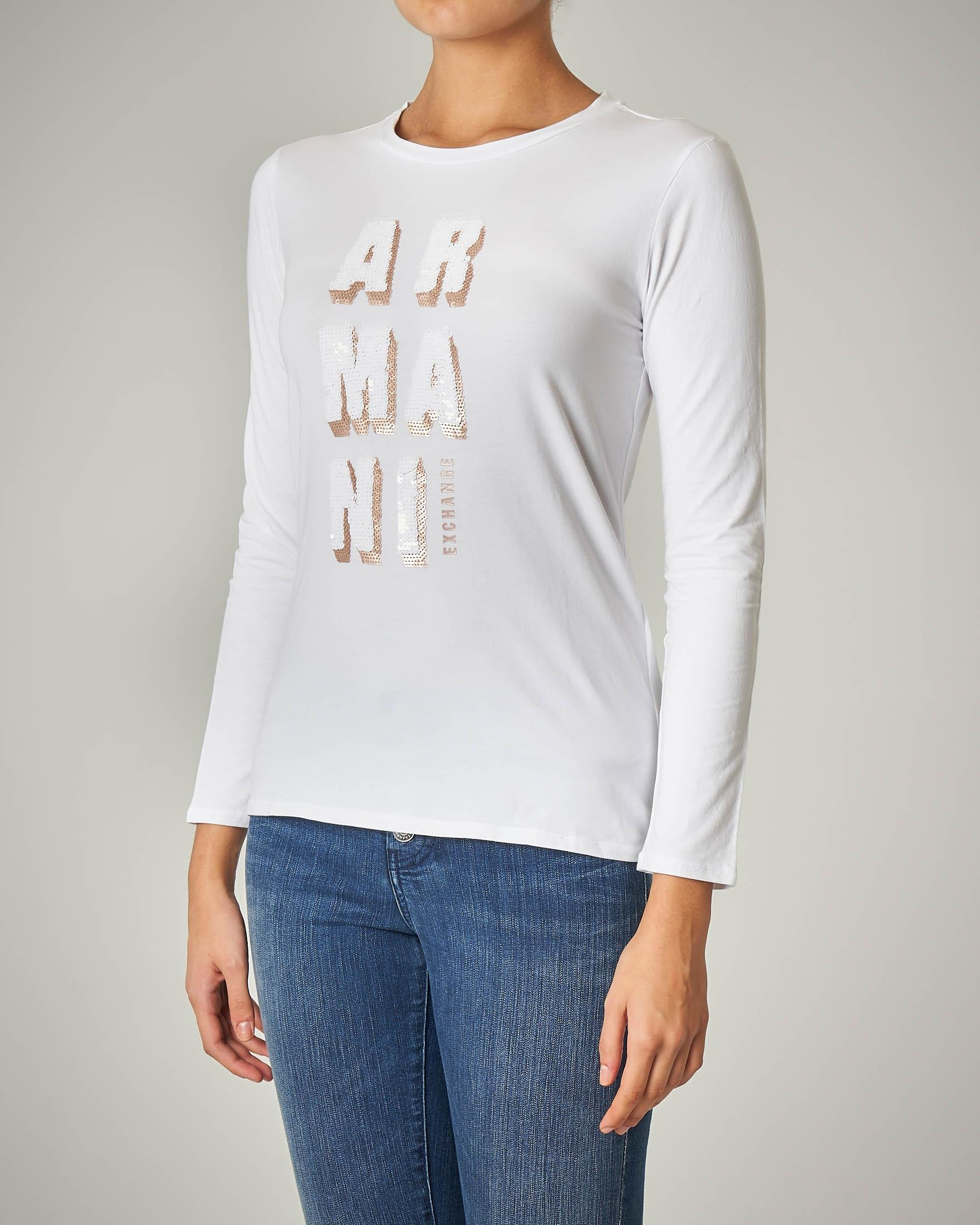 T-shirt bianca manica lunga con logo in paillettes