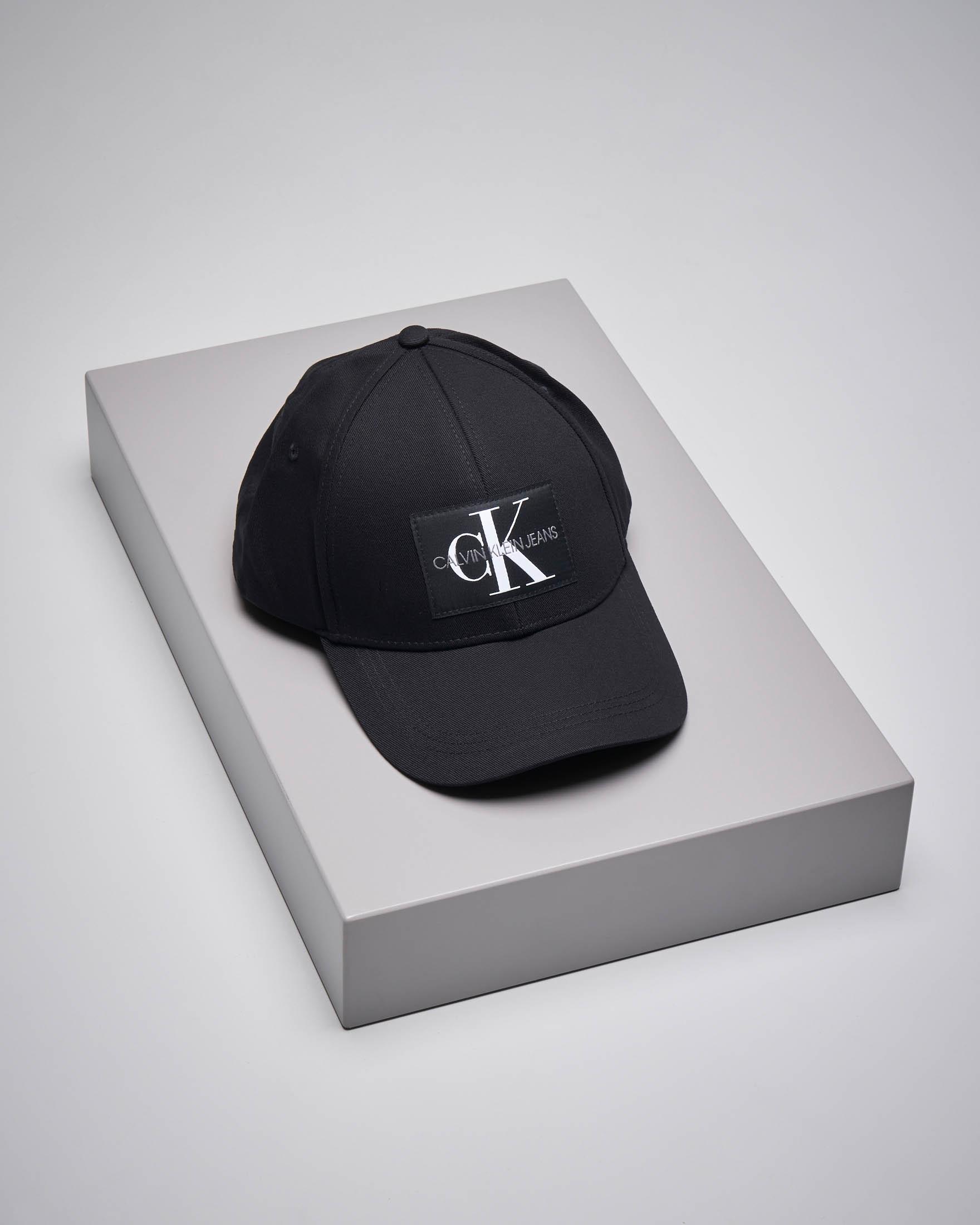 Berretto con visiera in cotone nero con logo