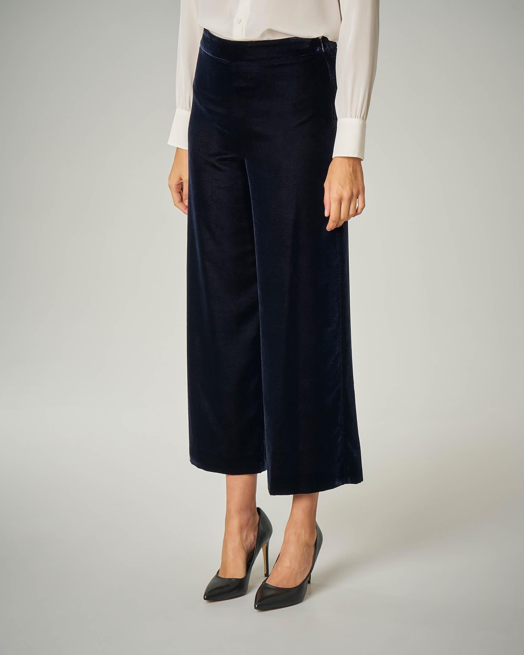 Pantaloni culotte in velluto blu