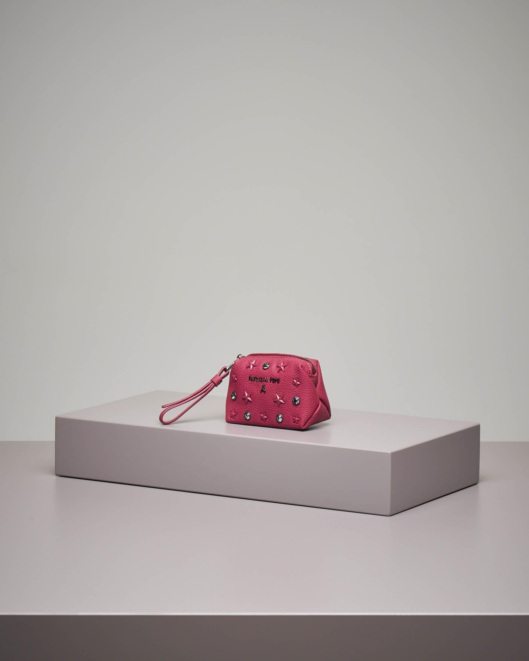 Portamonete piccolo rosa con strass