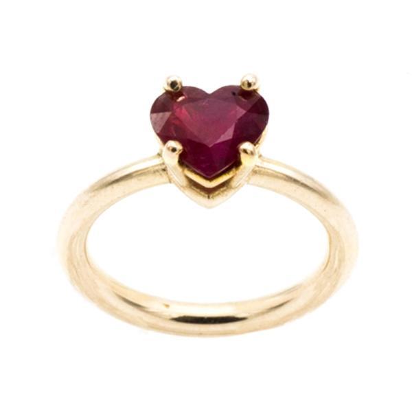 miglior prezzo per fashion style design professionale Anello Cuore in Oro rosa con Rubino
