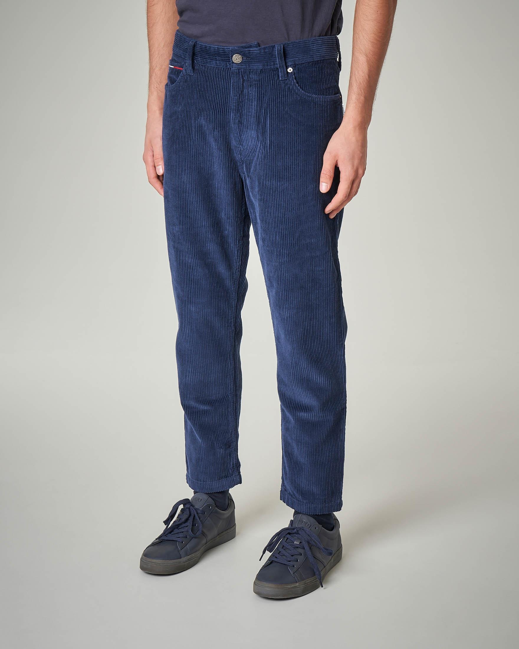 Pantalone in velluto blu