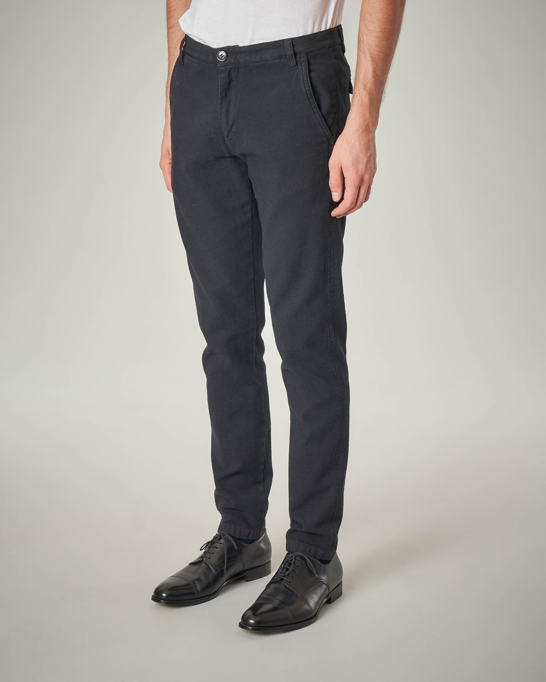 Pantalone chino antracite occhio di pernice