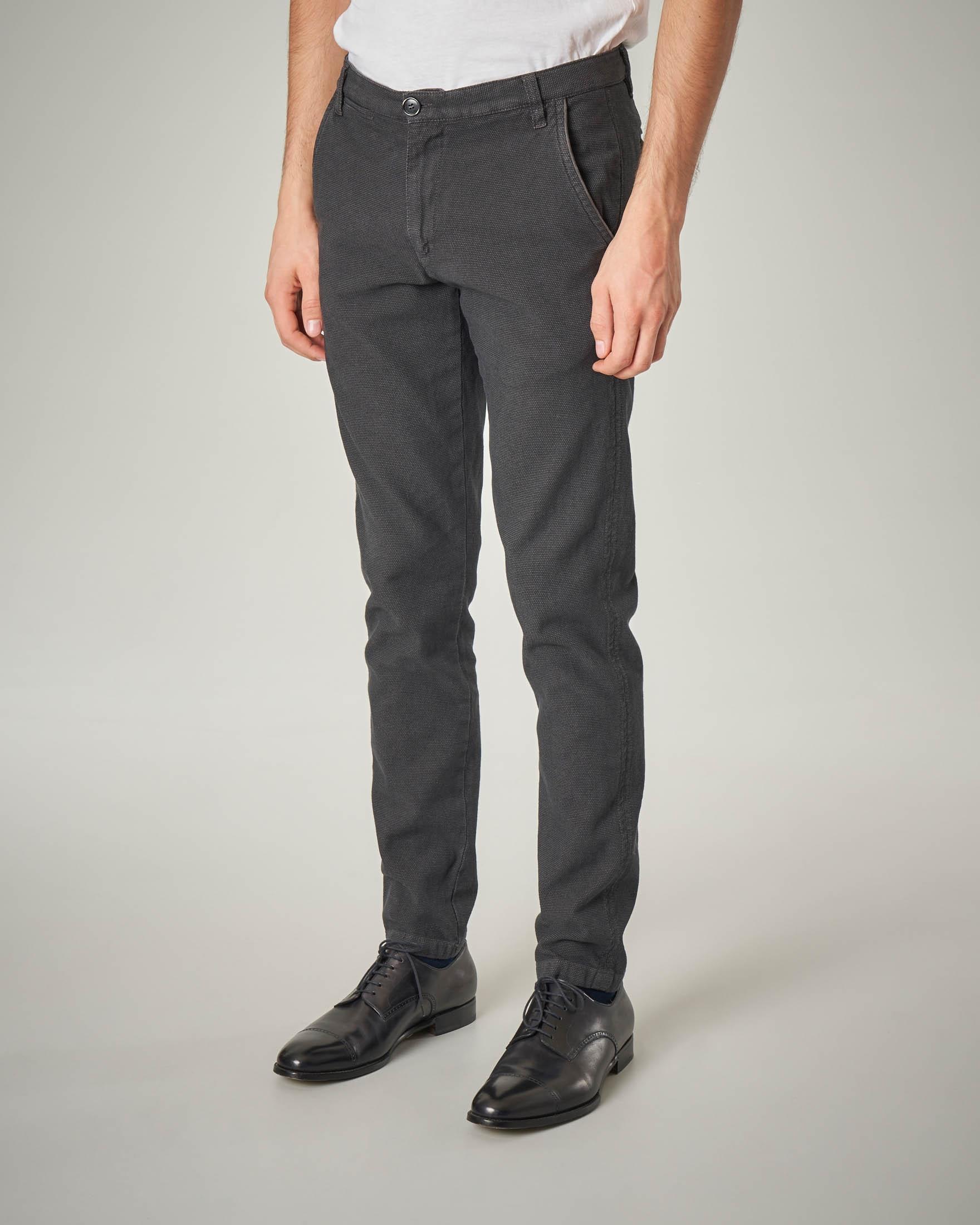 Pantalone chino grigio occhio di pernice