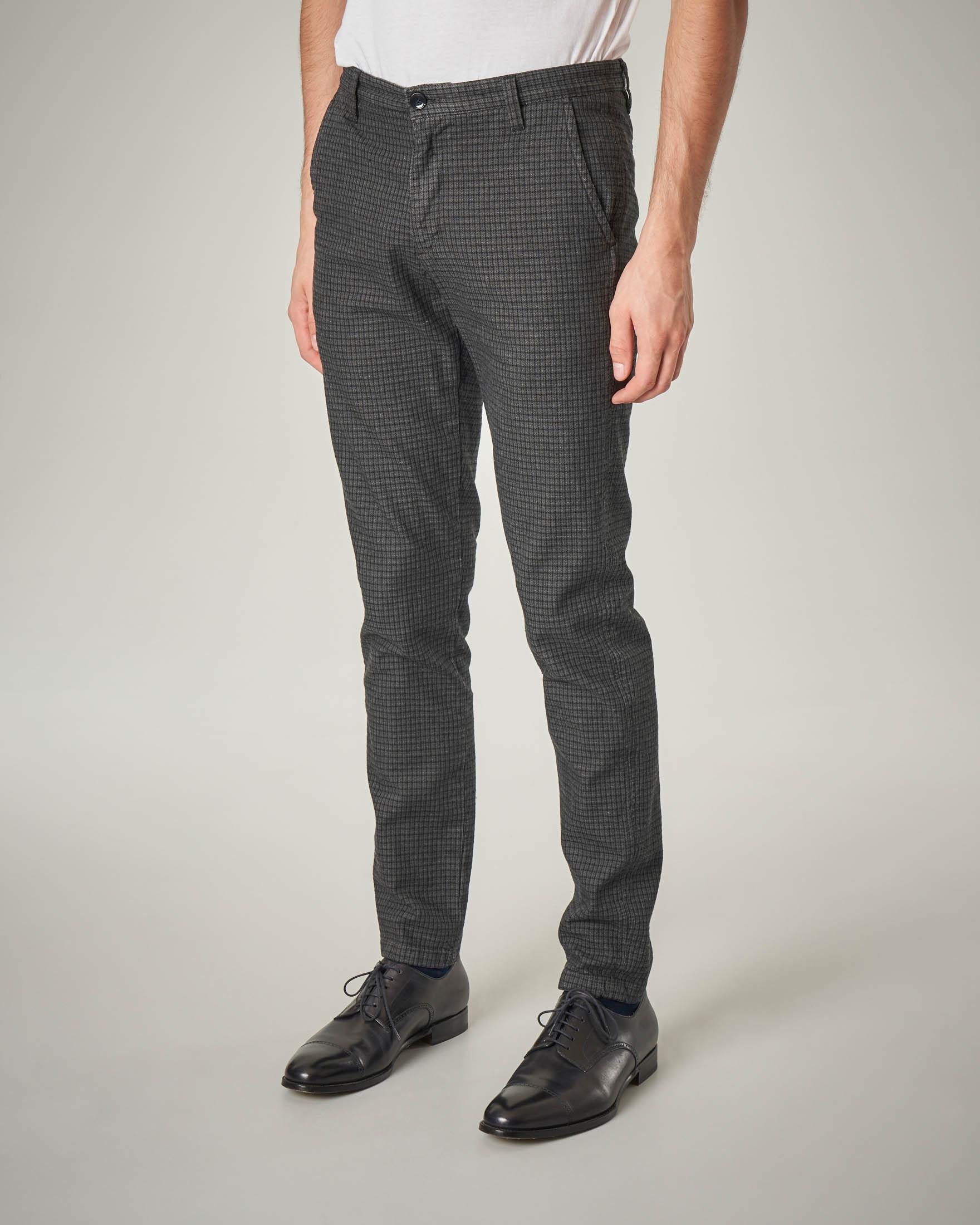 Pantalone chino grigio micro-quadretto