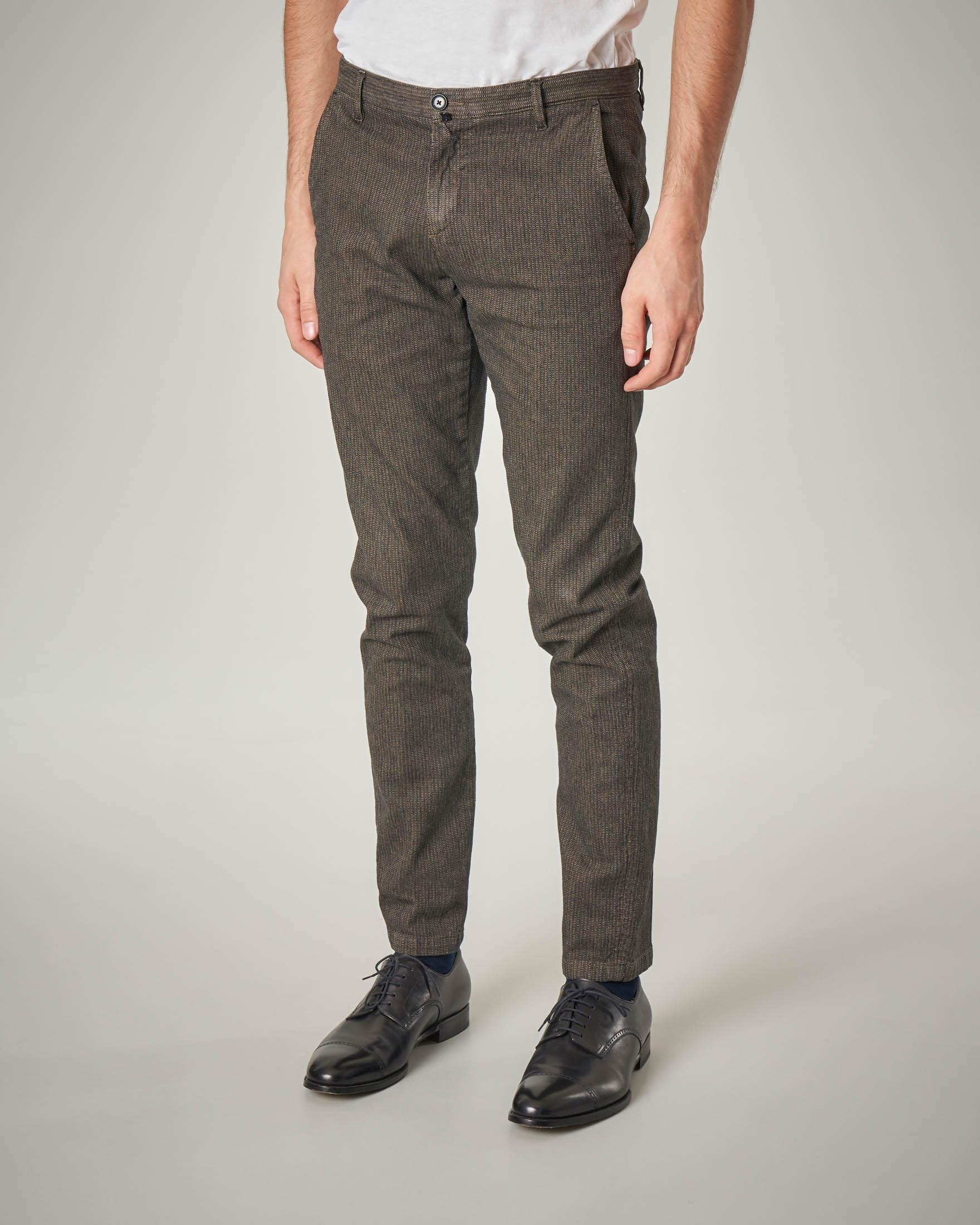 Pantalone chino tortora micro-armatura