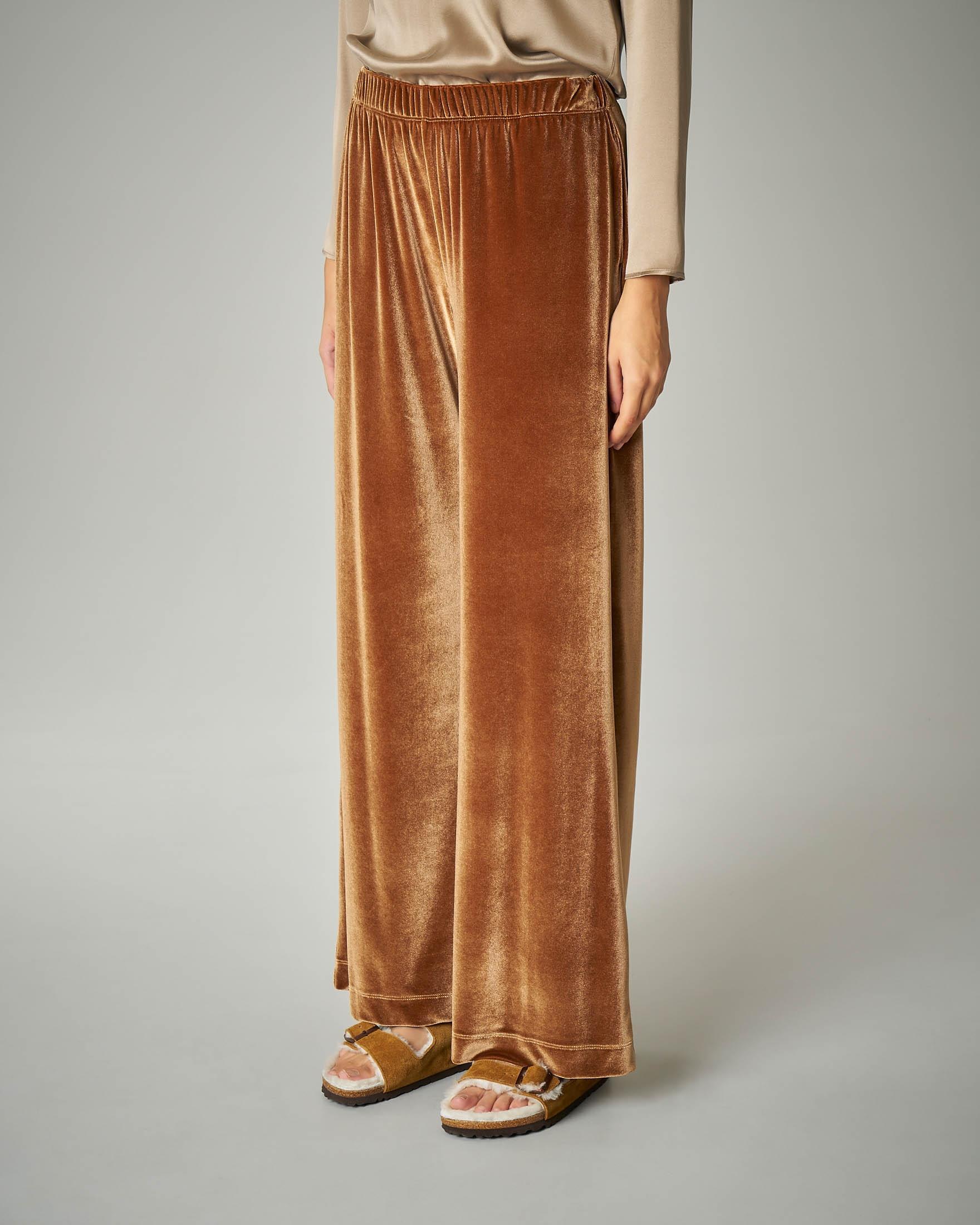 Pantalone palazzo in velluto color cammello