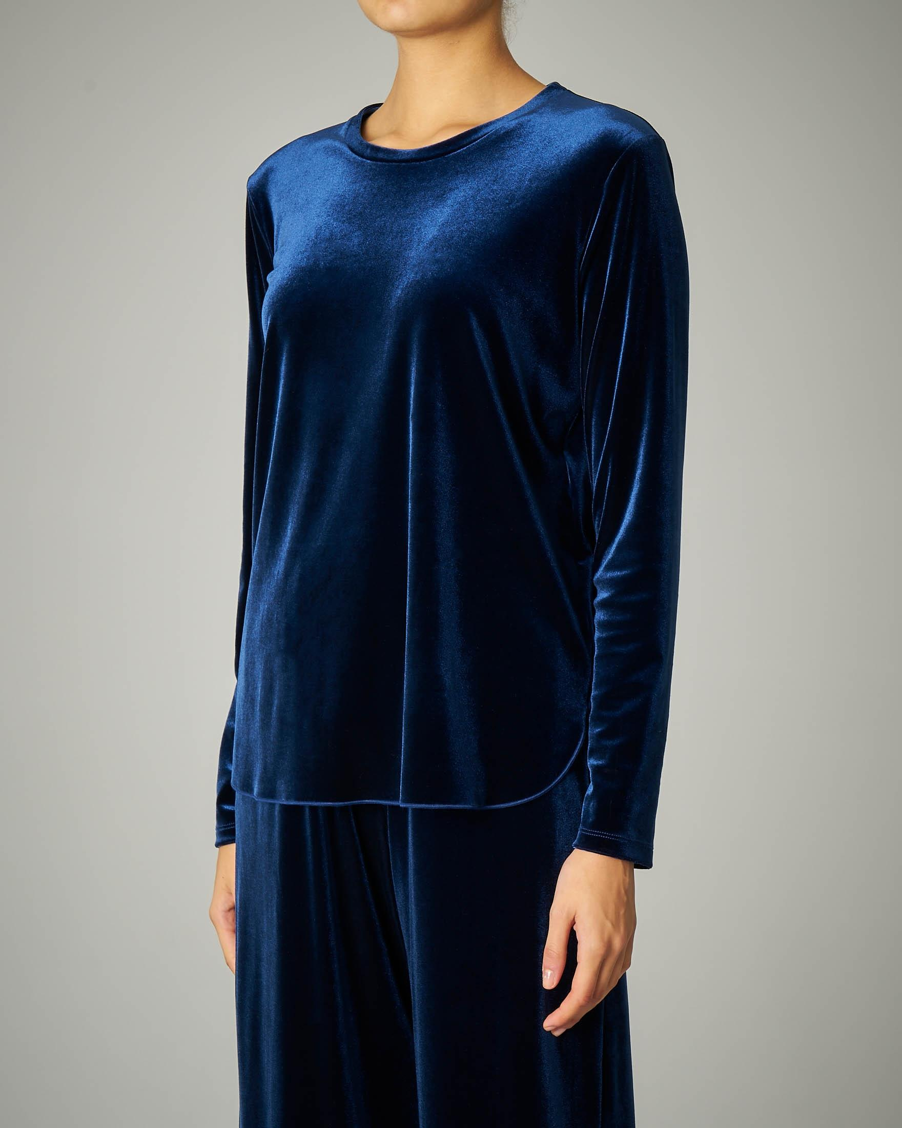 Blusa in velluto blu