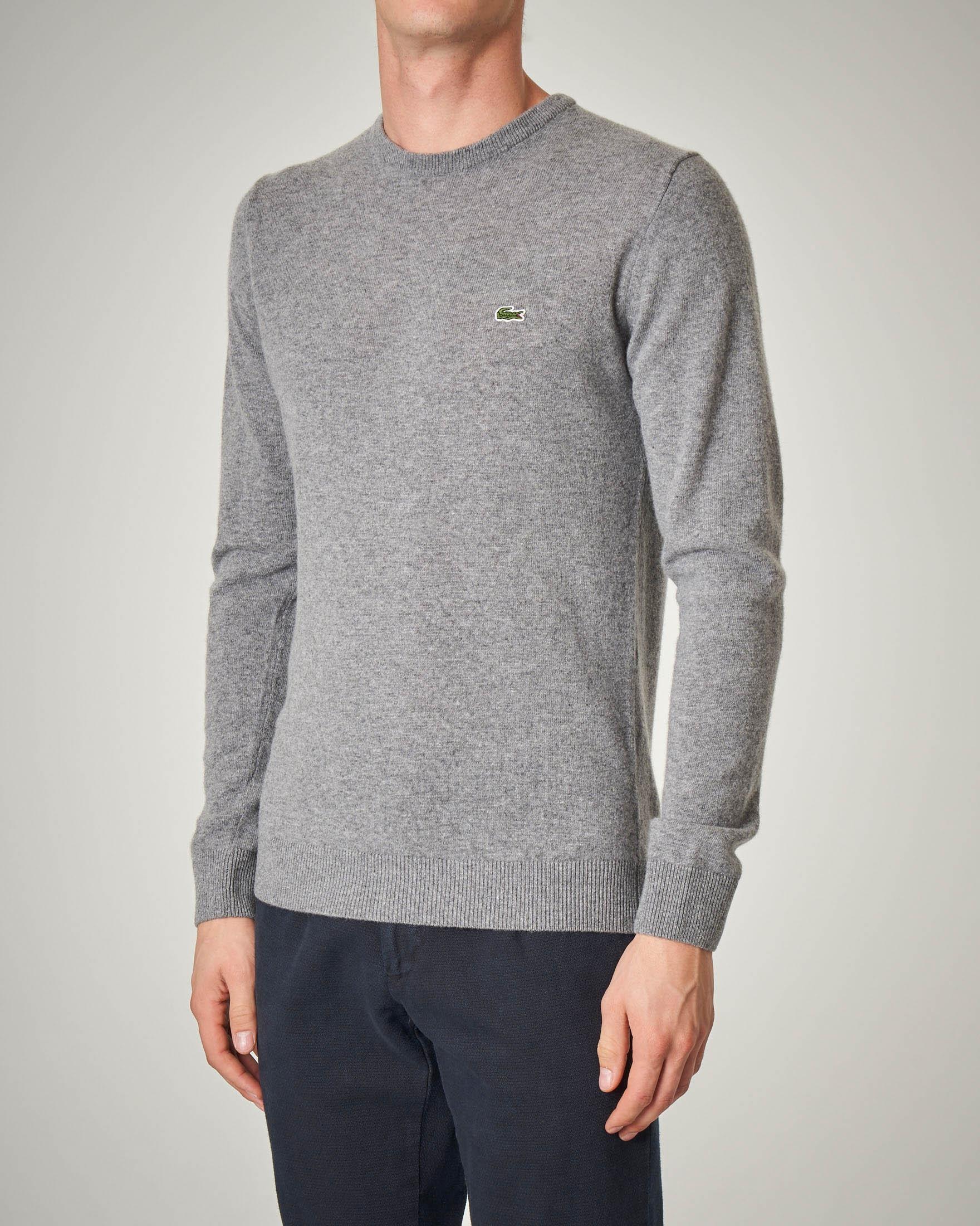 Maglia grigia girocollo in lana