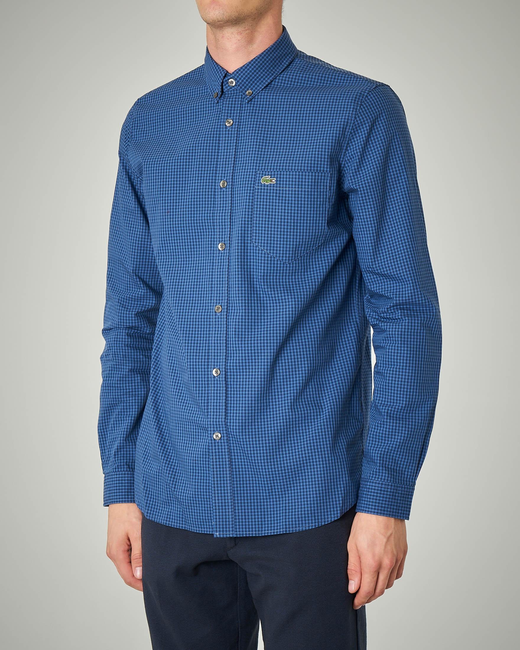 Camicia a quadretti blu e azzurri button down con taschino