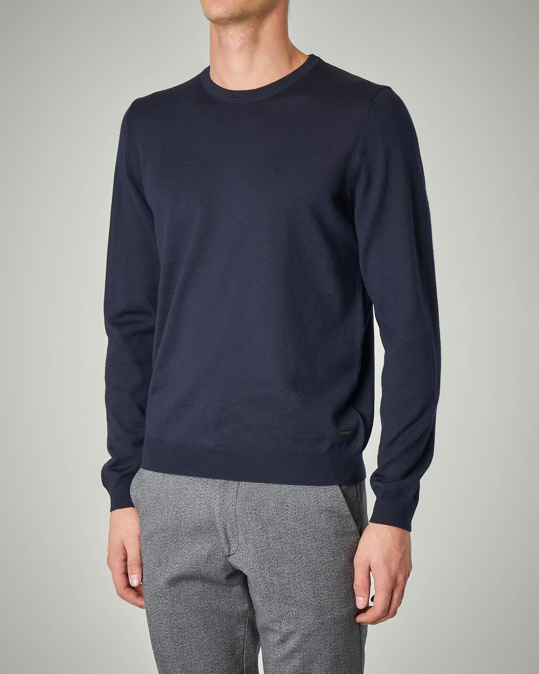 Maglia blu in lana merino
