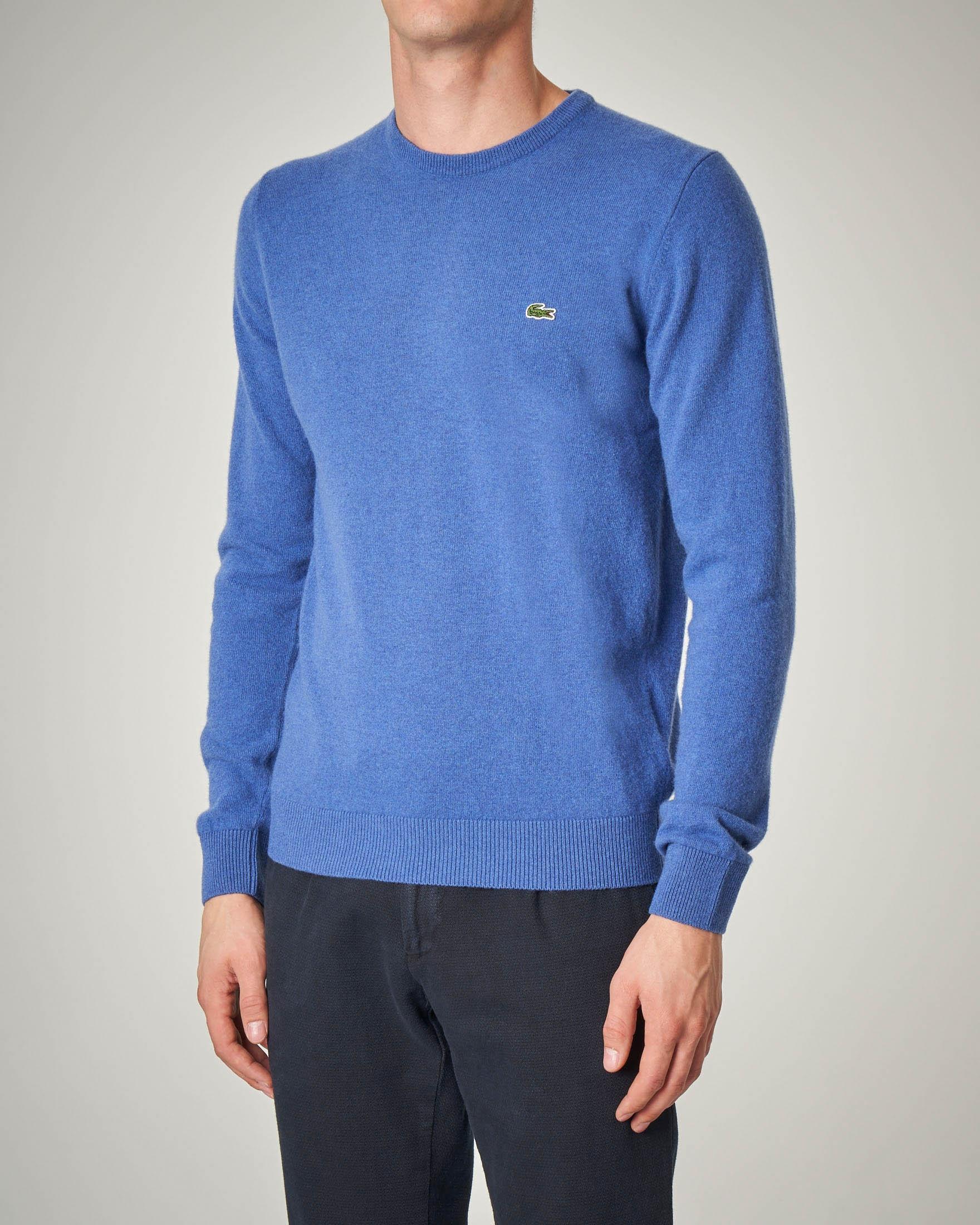 Maglia azzurra girocollo in lana