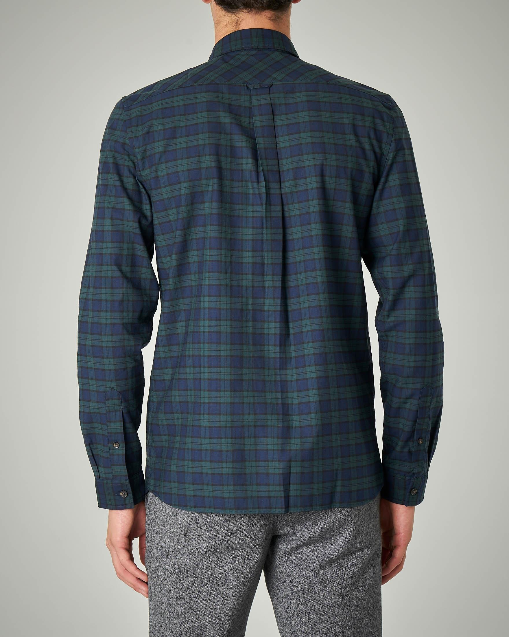 Camicia a quadri blu e verde button down con taschino
