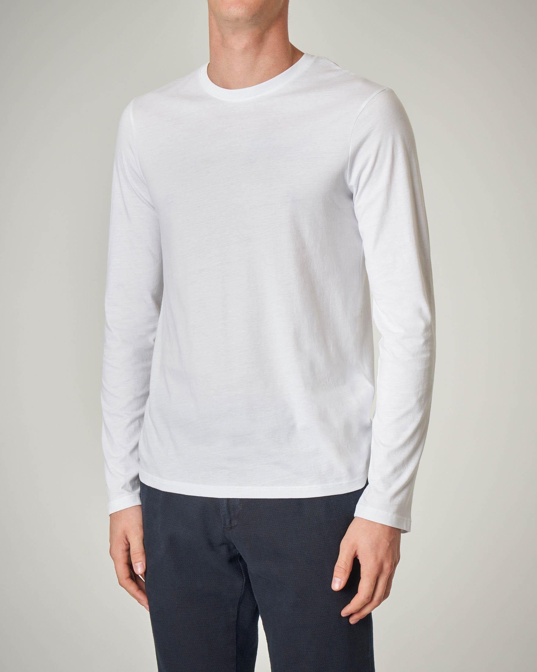 T-shirt bianca manica lunga basica