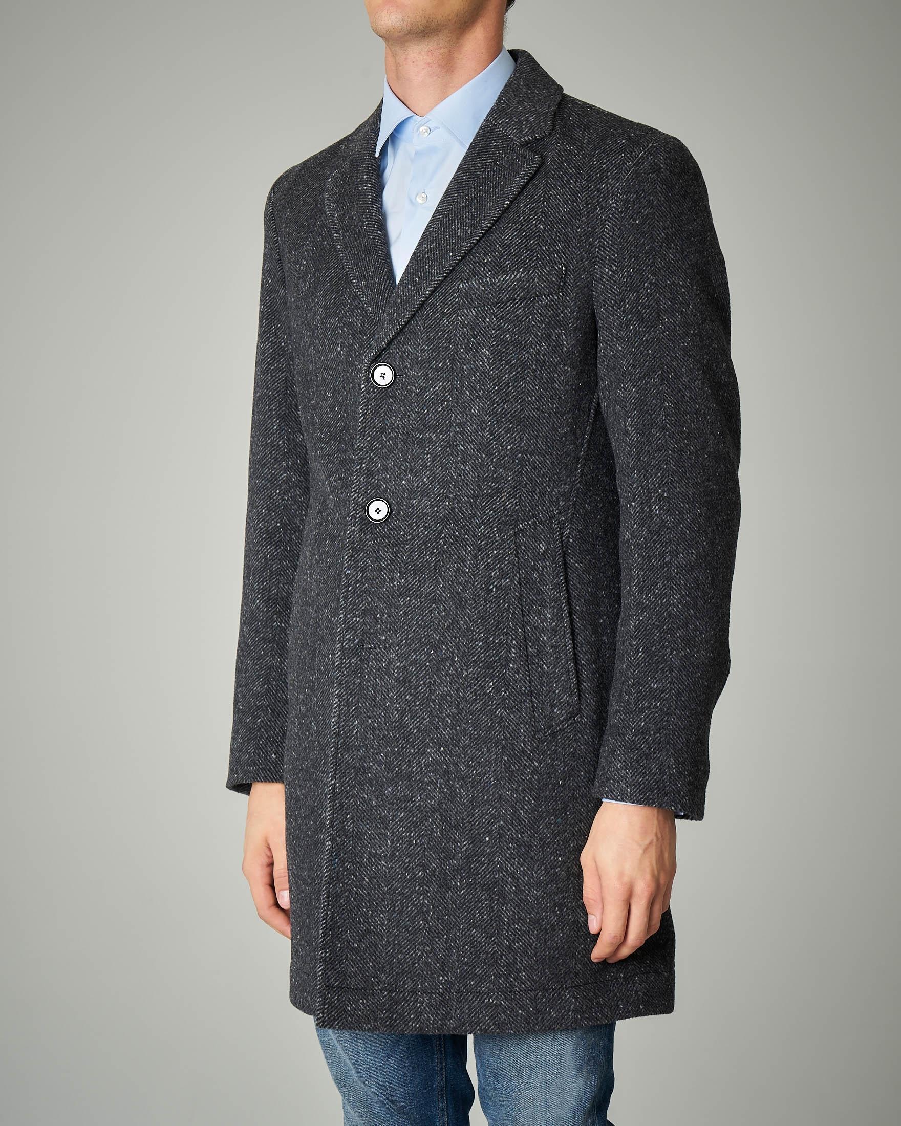 Cappotto grigio in tessuto spinato