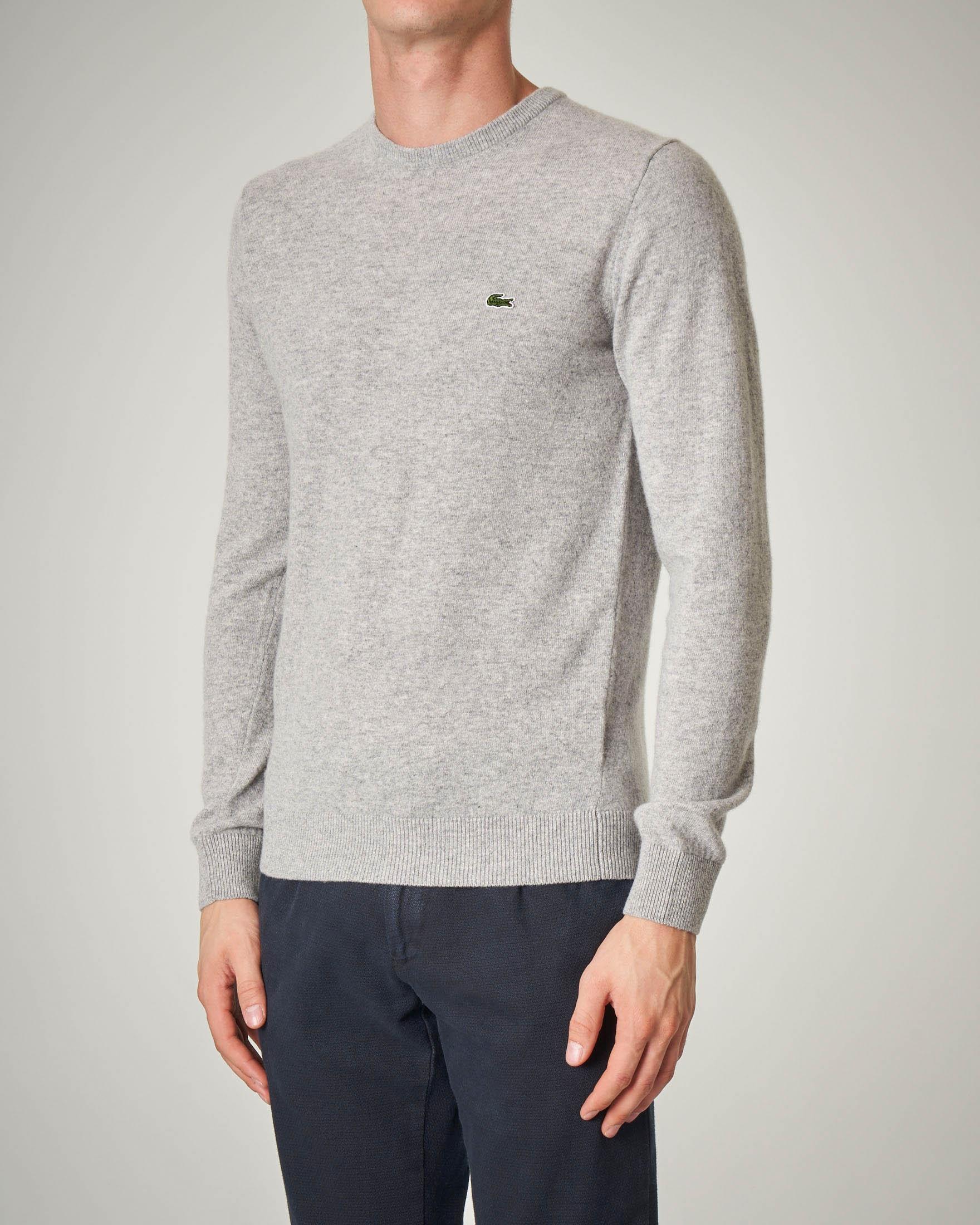 Maglia grigio chiaro girocollo in lana