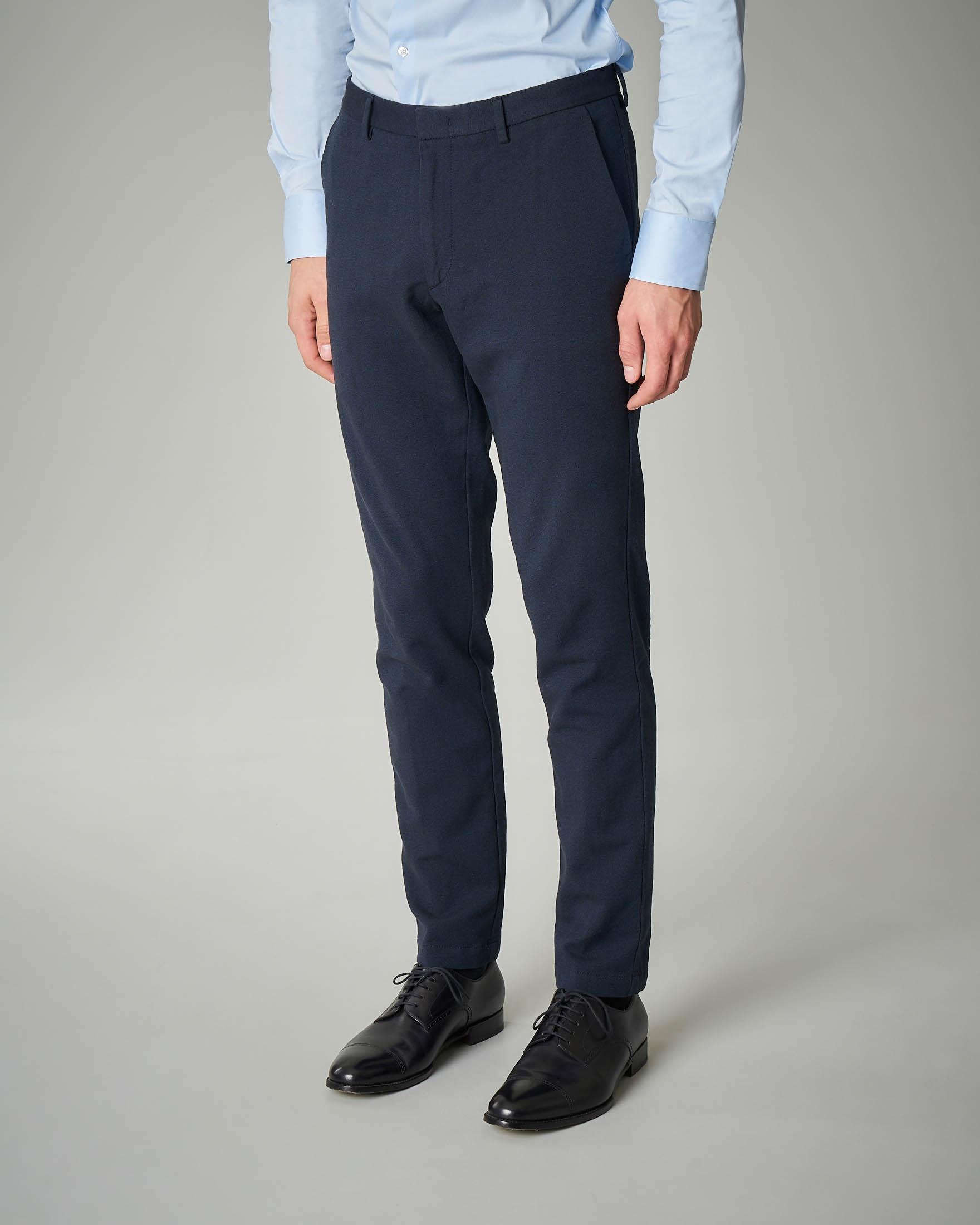 Pantalone blu tessuto moulinè