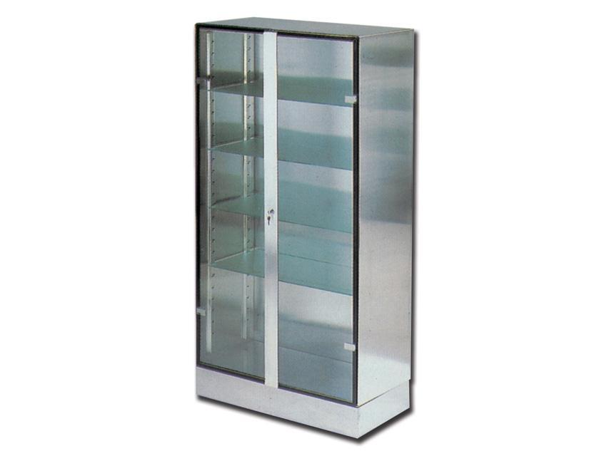 Armadio per sala operatoria inox AISI 304 con 2 ante in vetro cm.  100x48x190h