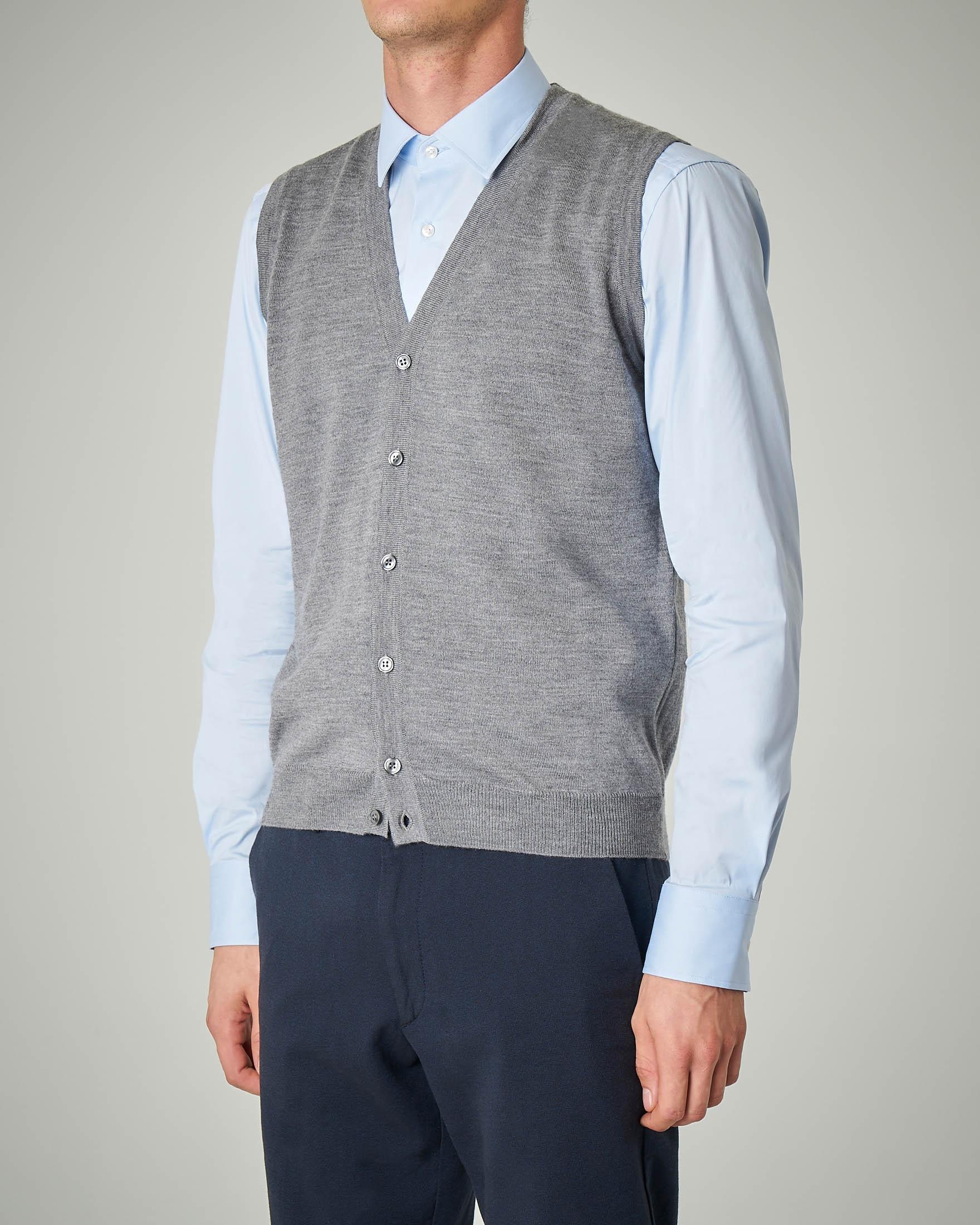 Gilet grigio con bottoni in lana merino