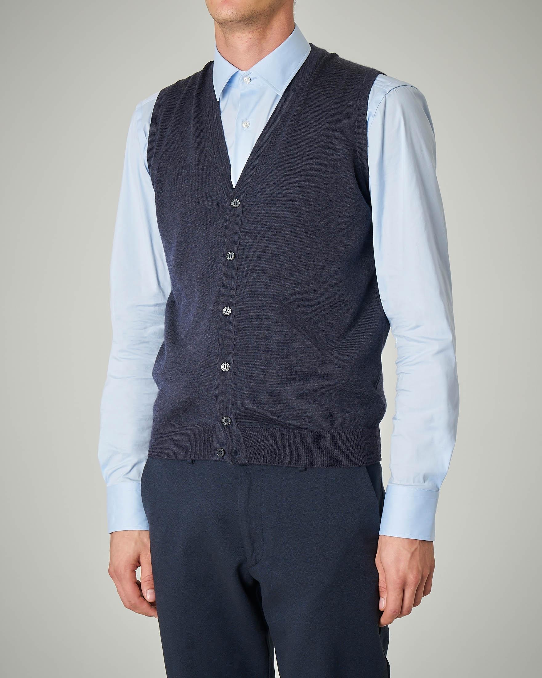 Gilet blu melange con bottoni in lana merino