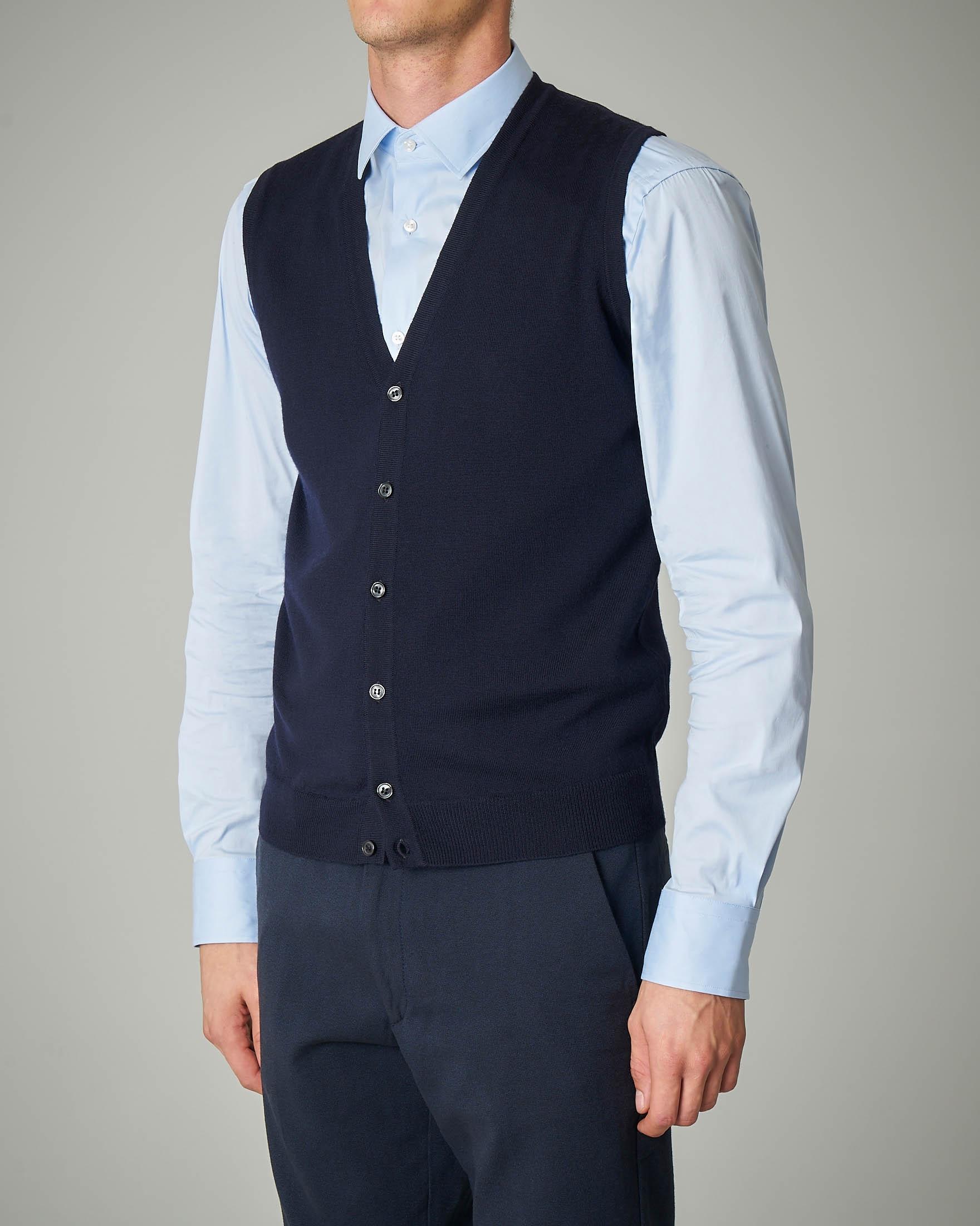 Gilet blu con bottoni in lana merino
