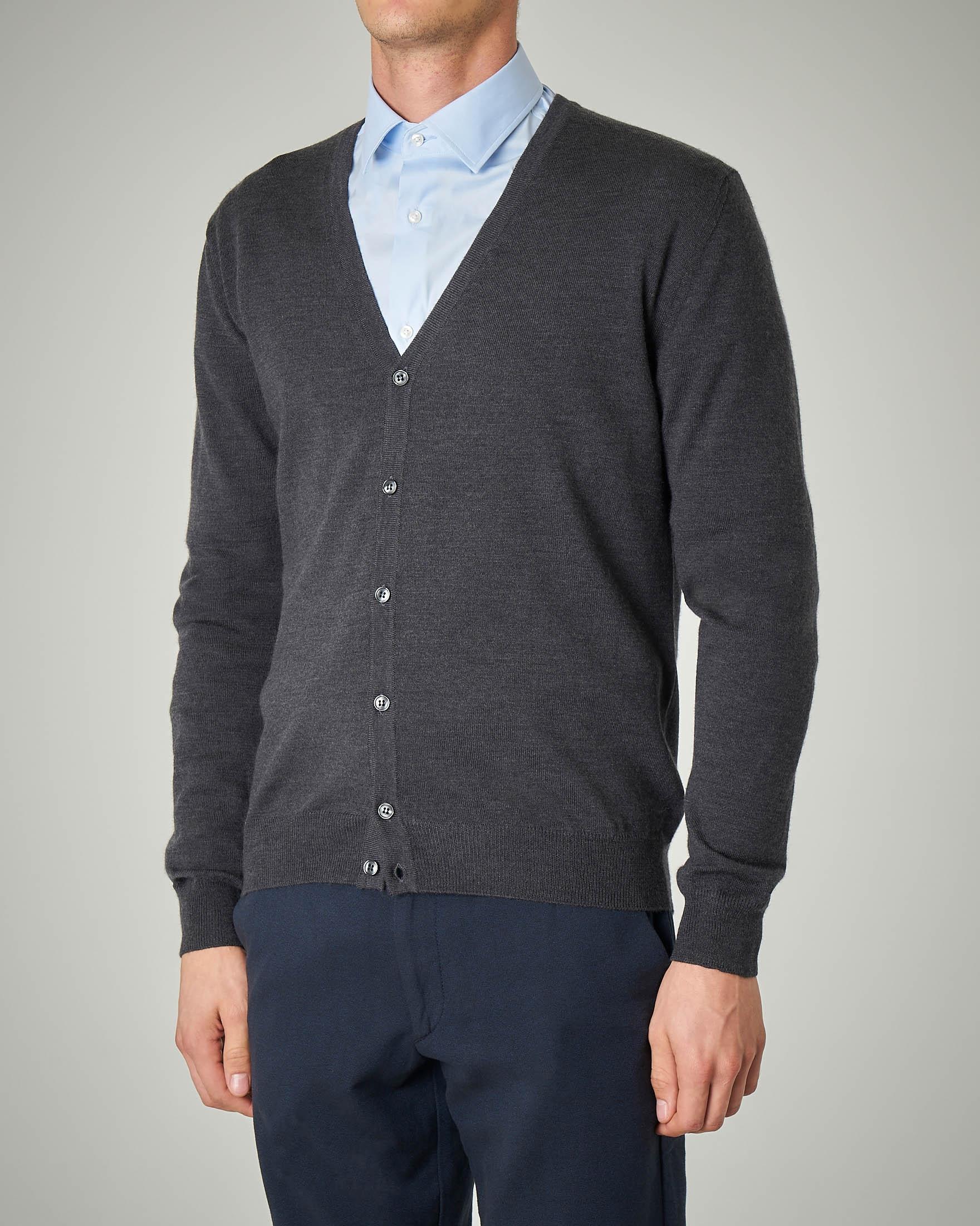 Cardigan antracite in lana merino