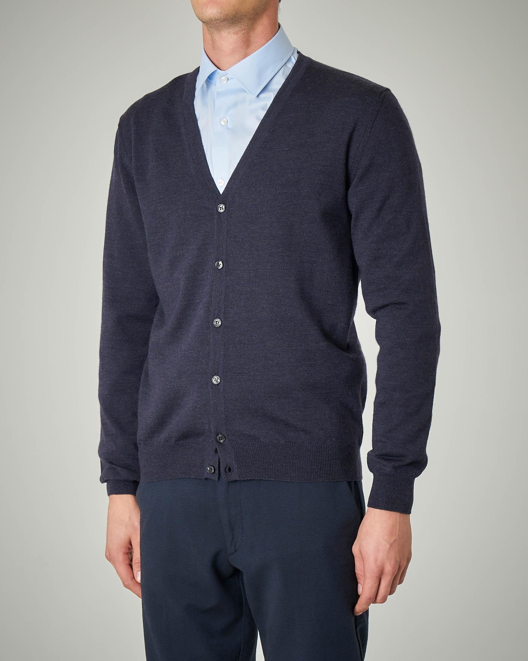 Cardigan blu melange in lana merino