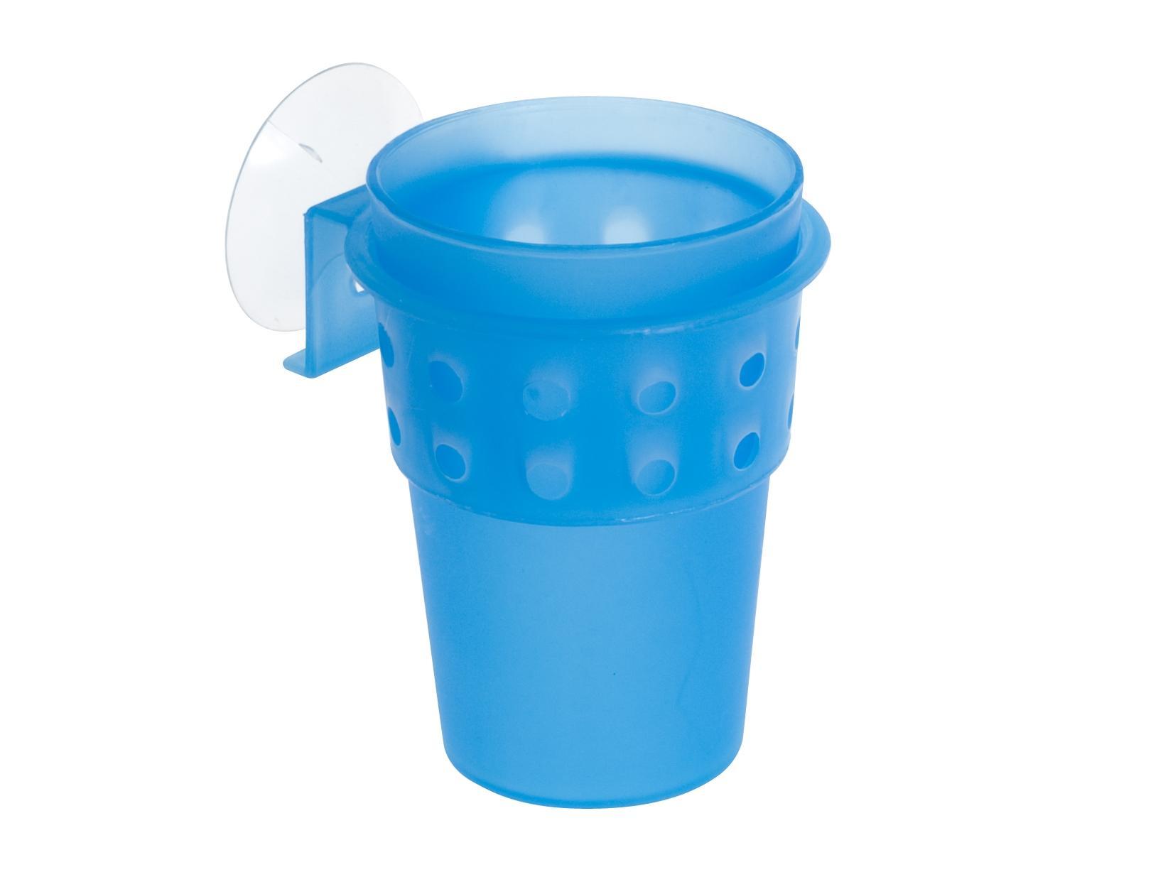 Accessori Da Bagno Con Ventosa.Home Porta Spazzolini Plastica Con Ventosa Blu Arredo Bagno E Accessori