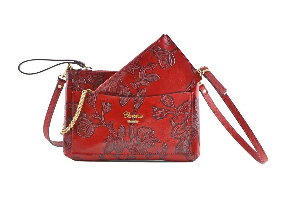 36a879a439 CUOIERIA FIORENTINA Bustina con tasca Vitello stampato borsa donna pelle  rosso - Glooke