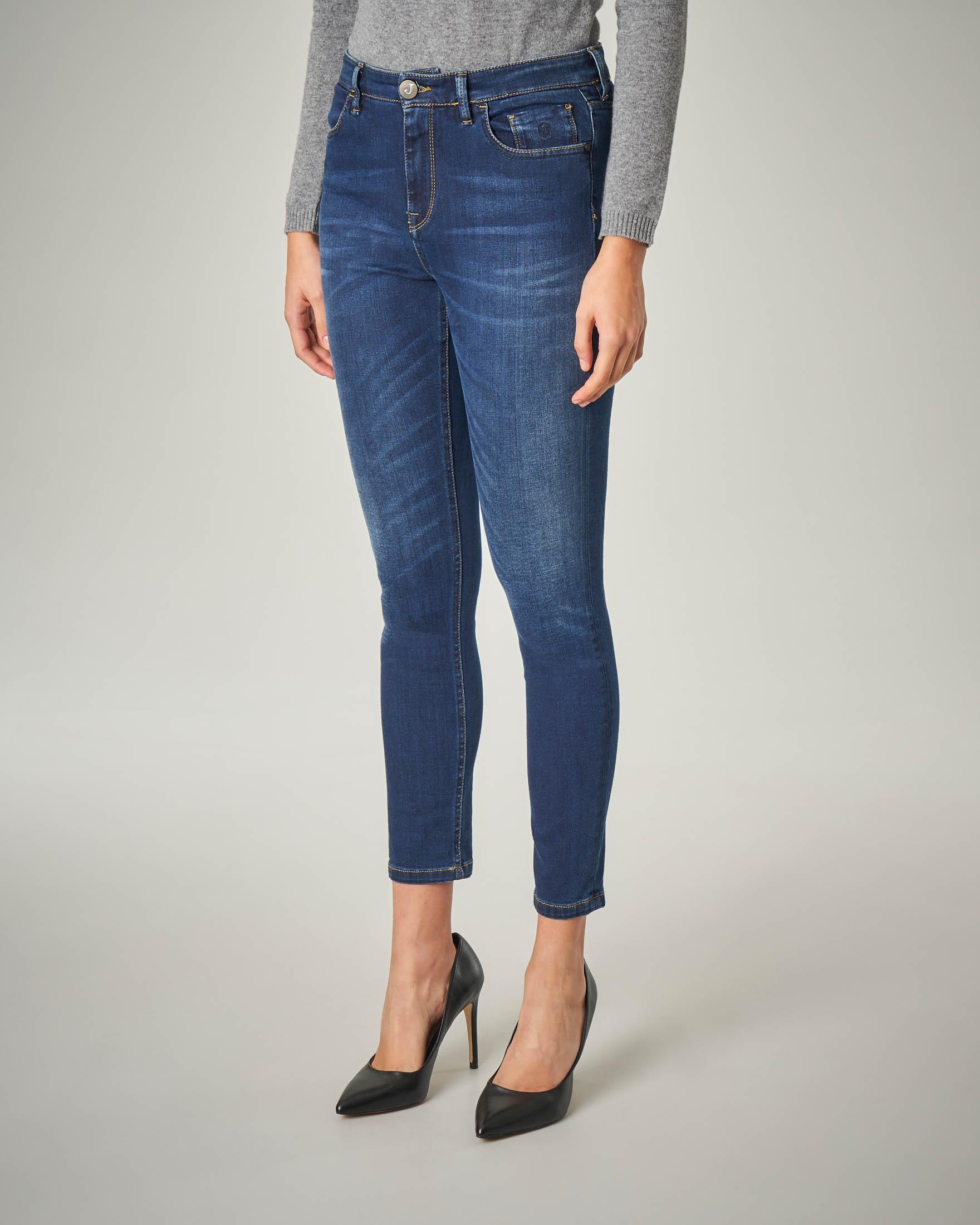 Jeans skinny blu con scritta