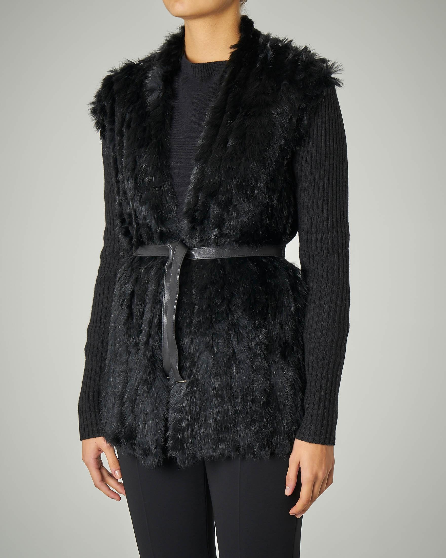 Cardigan nero in misto cashmere con inserti in lapin