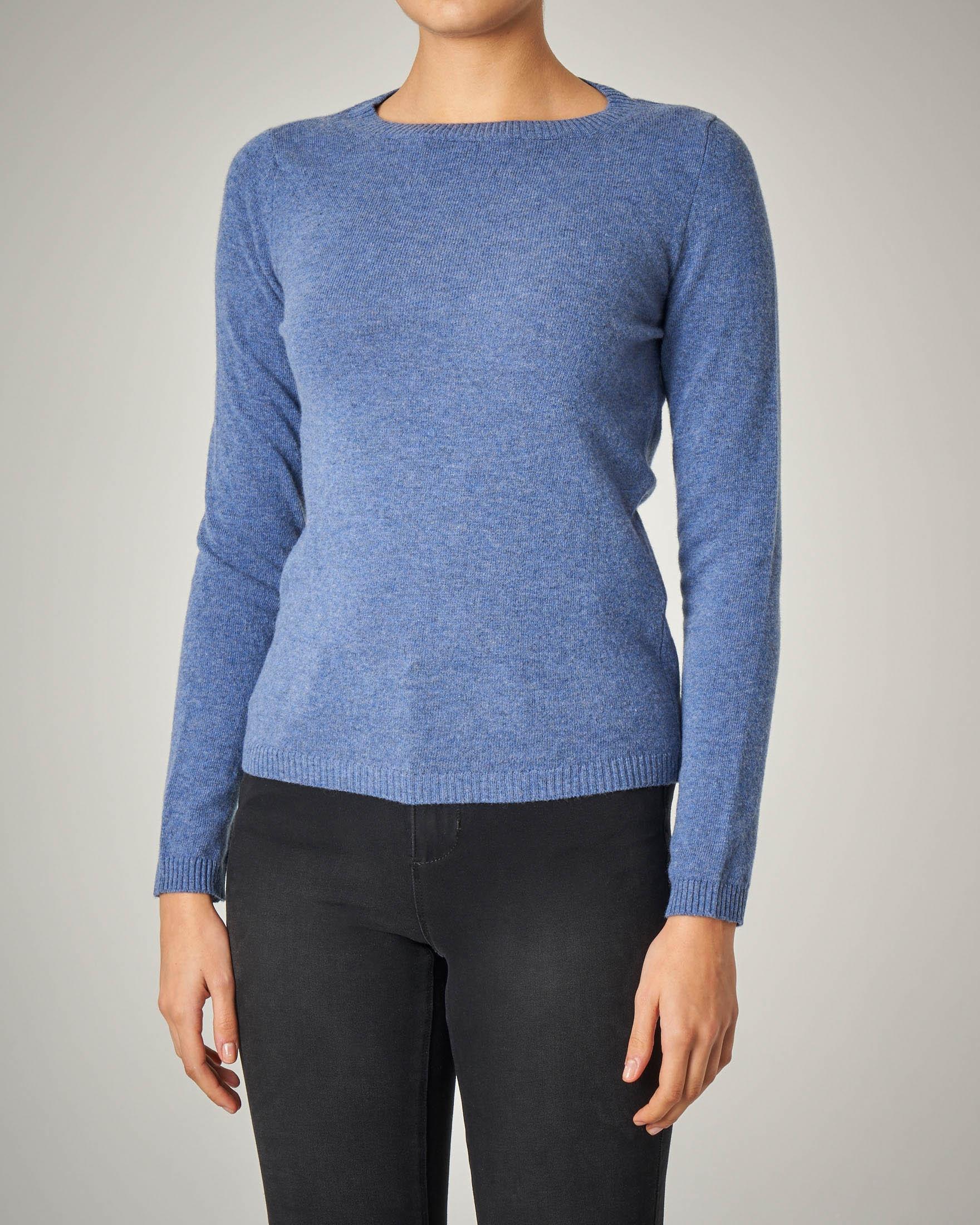 Maglia color avio girocollo in lana vergine